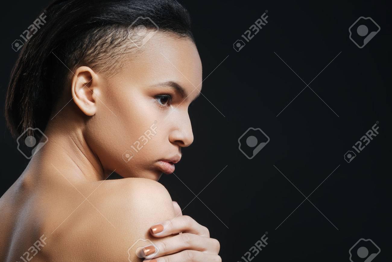 Gut Aussehende Schöne Frau Halbe Gesicht Stehen Lizenzfreie Fotos