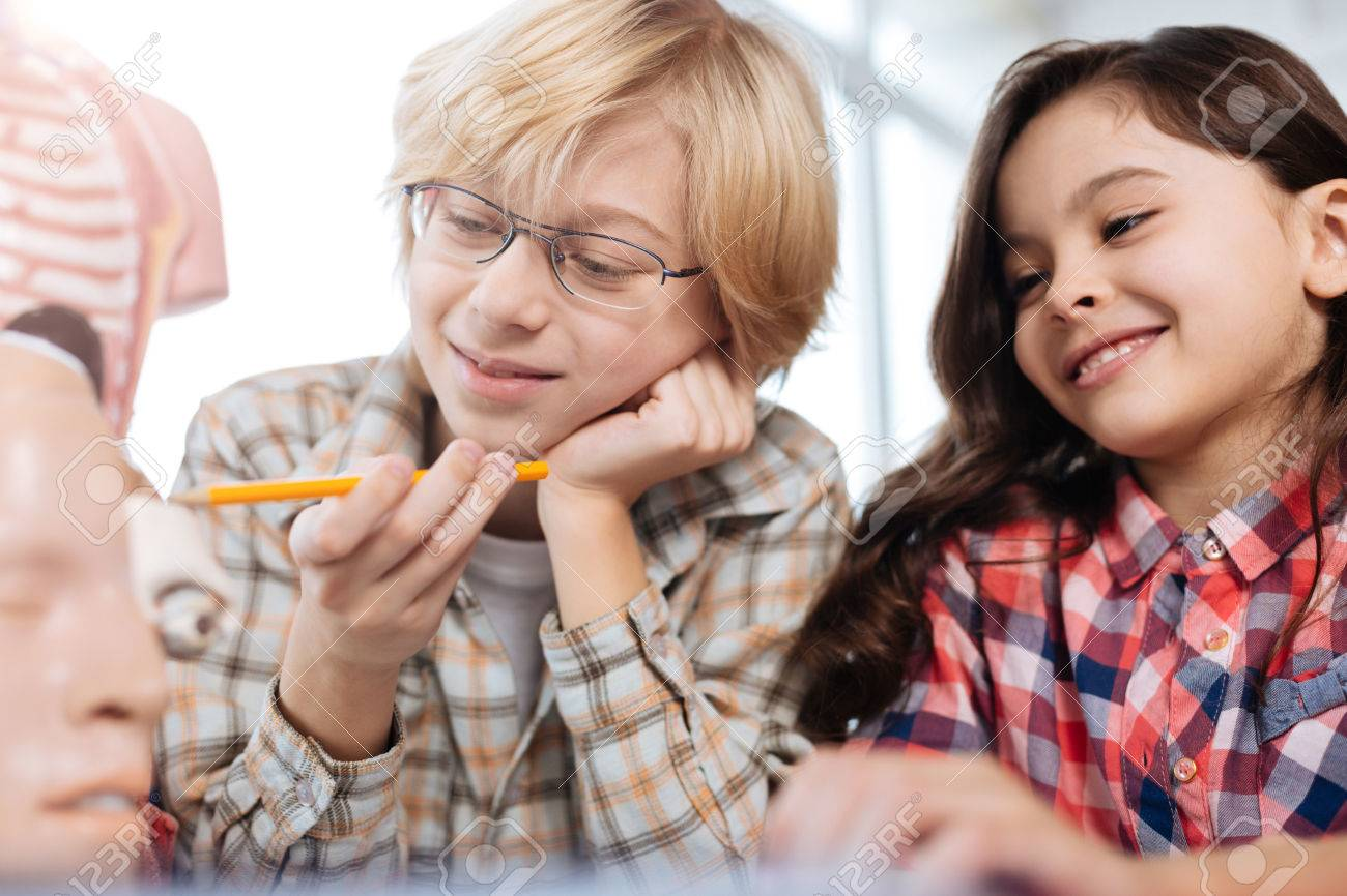 Enthusiastic Children Studying Human Anatomy Stock Photo, Picture ...