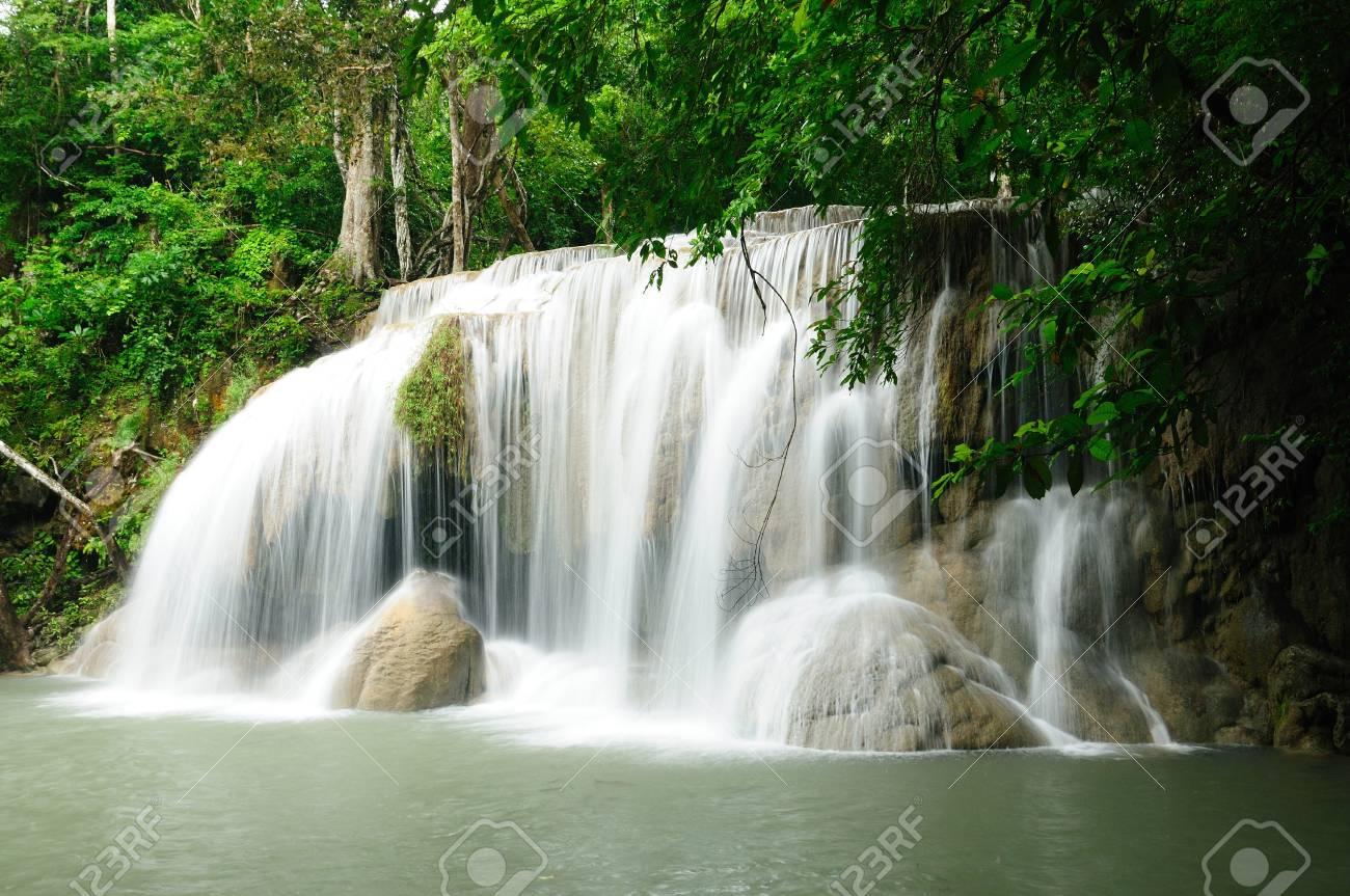 Travel waterfall in Kanchanaburi, Thailand Stock Photo - 17332073