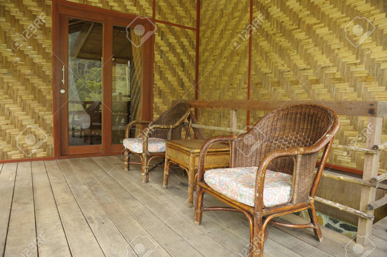 Bamboo And Wicker Chair Living Room Wood Architecture Style