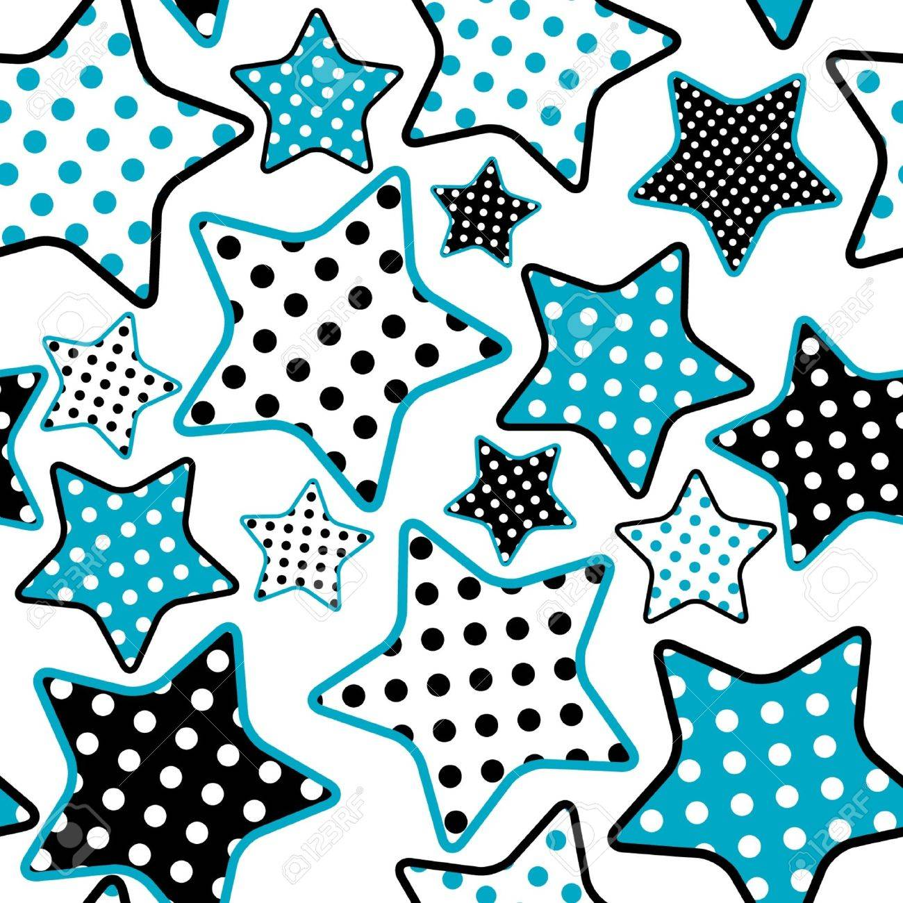 seamless pattern with blue and black stars Stock Vector - 11479487