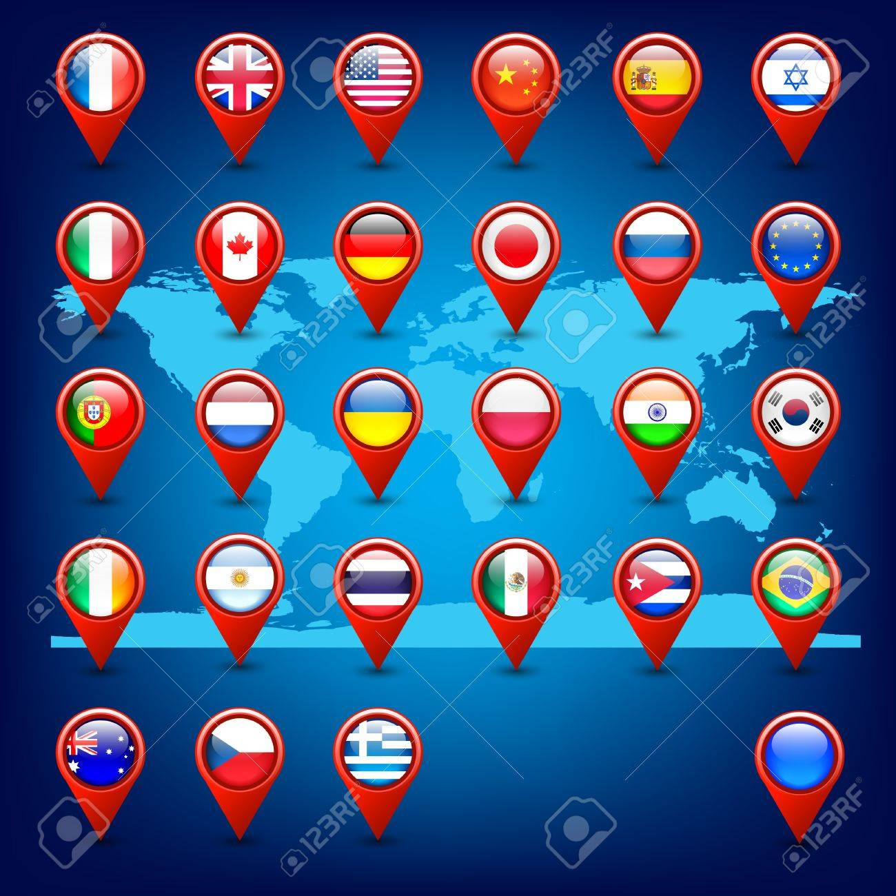 World map and pins with flags royalty free cliparts vectors and vector world map and pins with flags gumiabroncs Images