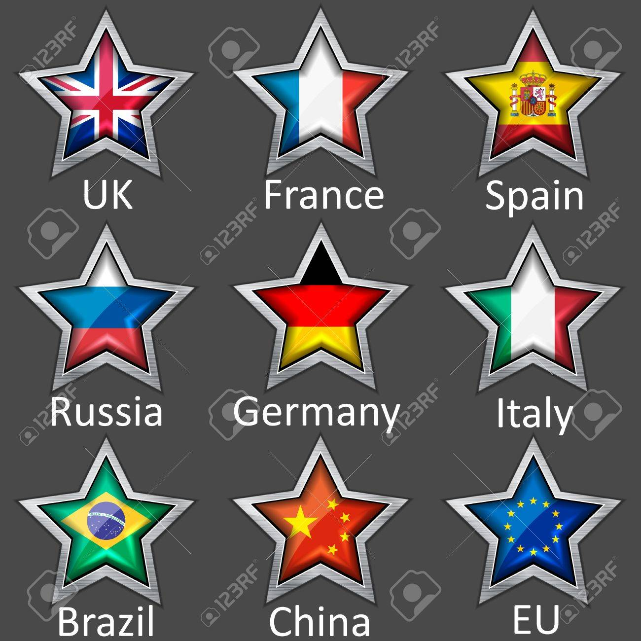 stars with flags icon Stock Vector - 13799780