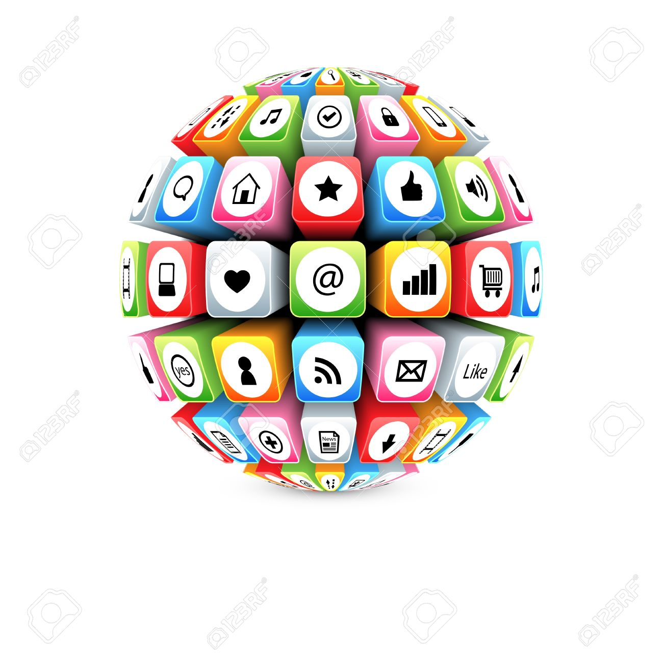 3d sphere with colorful internet symbols Stock Vector - 13799744