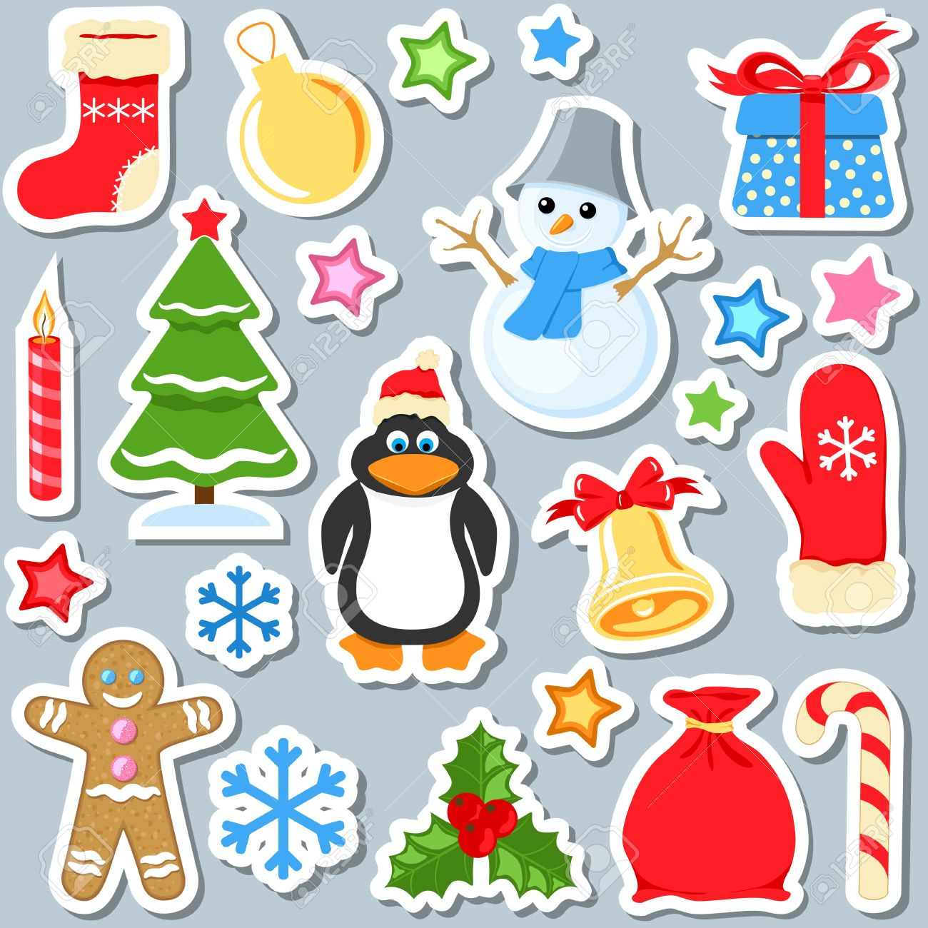 Christmas Stickers.Set Of Christmas Stickers