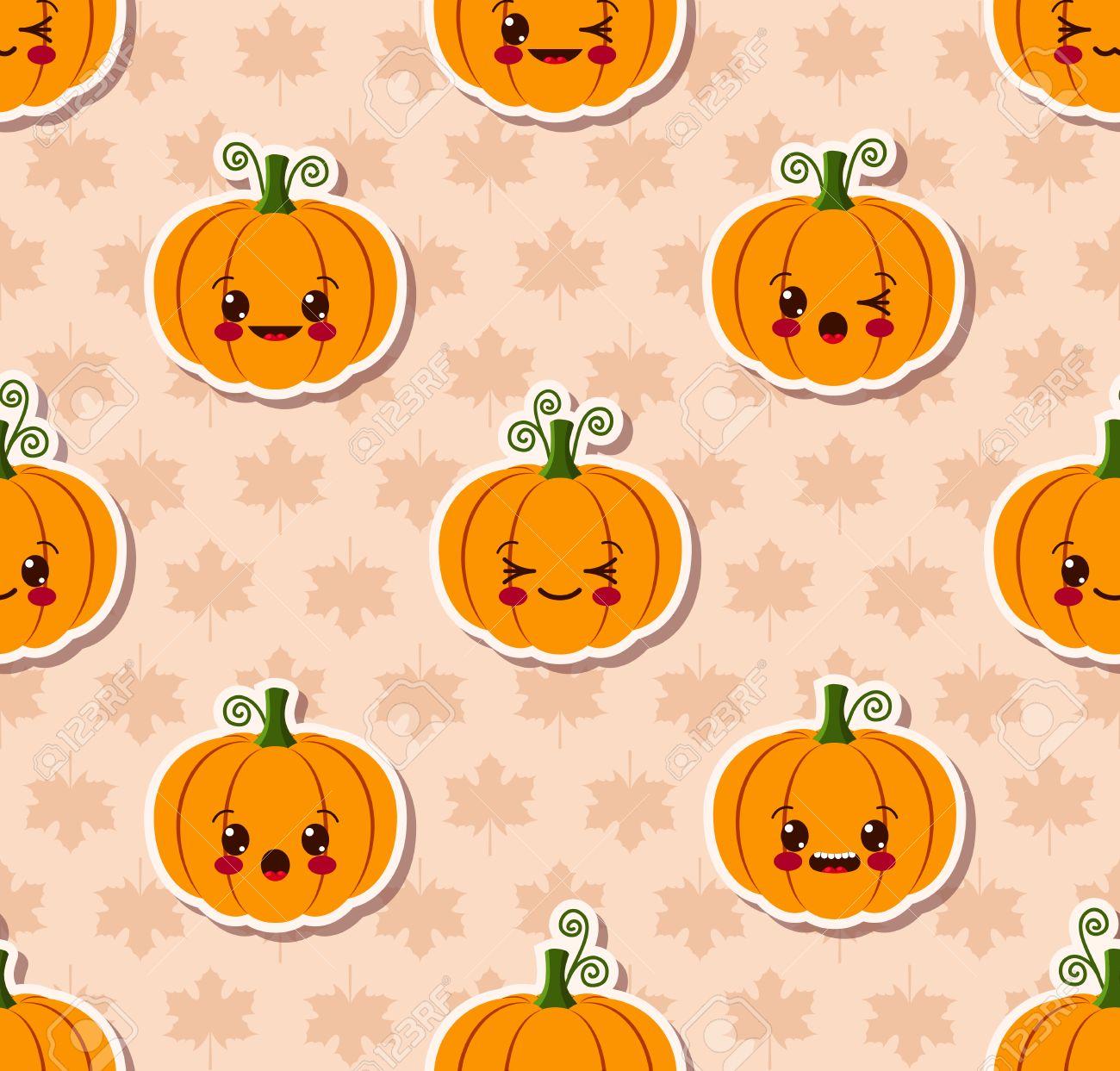 Kawaii Halloween Seamless Pattern Royalty Free Cliparts, Vectors ...