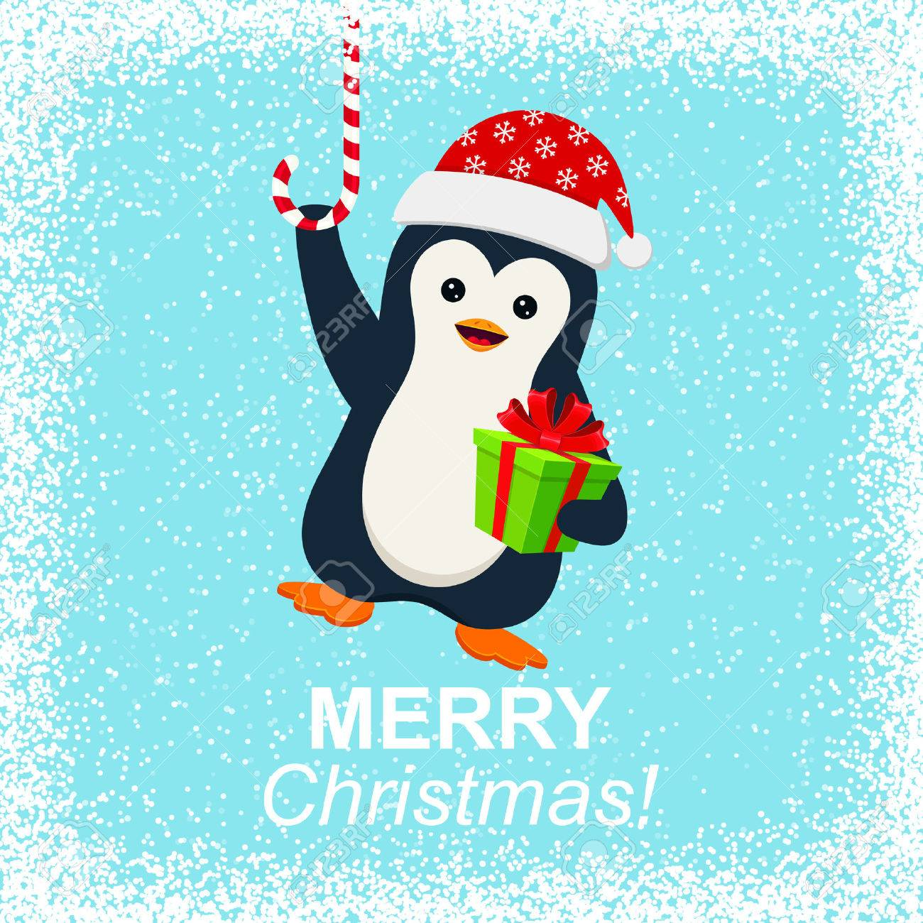 Cute Penguin With Gift Box And Merry Christmas Royalty Free Cliparts, Vectors, And Stock Illustration. Image 47449056.