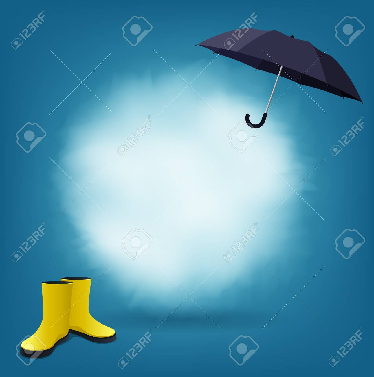 a63990199bf2 Speech bubble as cloud with black umbrella and yellow rain boots Stock  Vector - 79236056