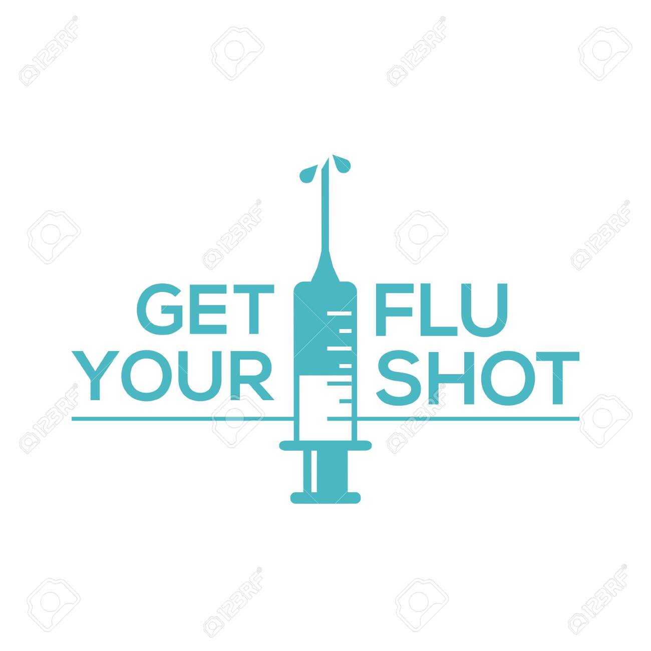 Get your flu shot with syringe injection icon. Flu vaccine isolated on white background - 133124643