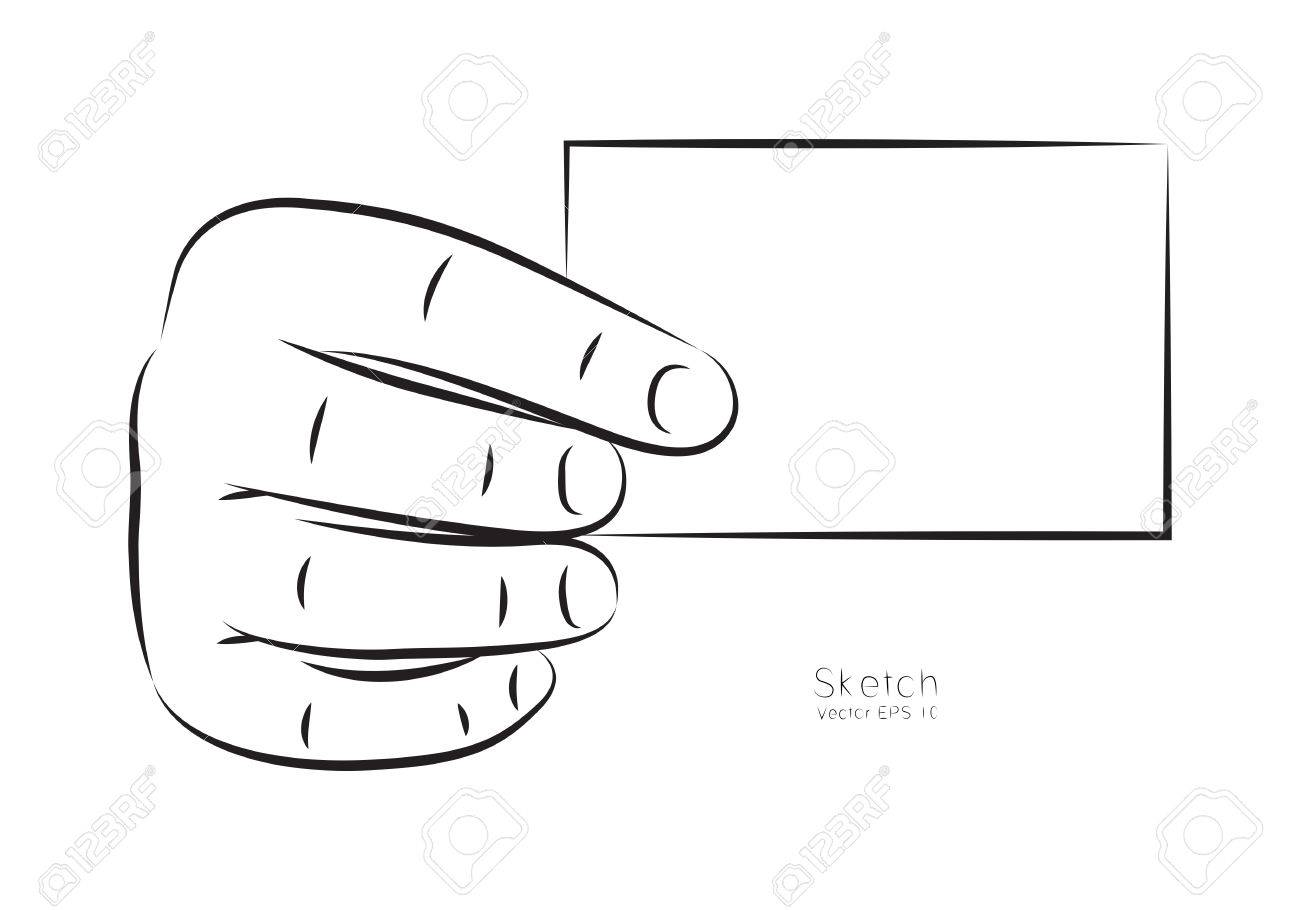 Clip Art Hand And Business Card On White Background Royalty Free ...