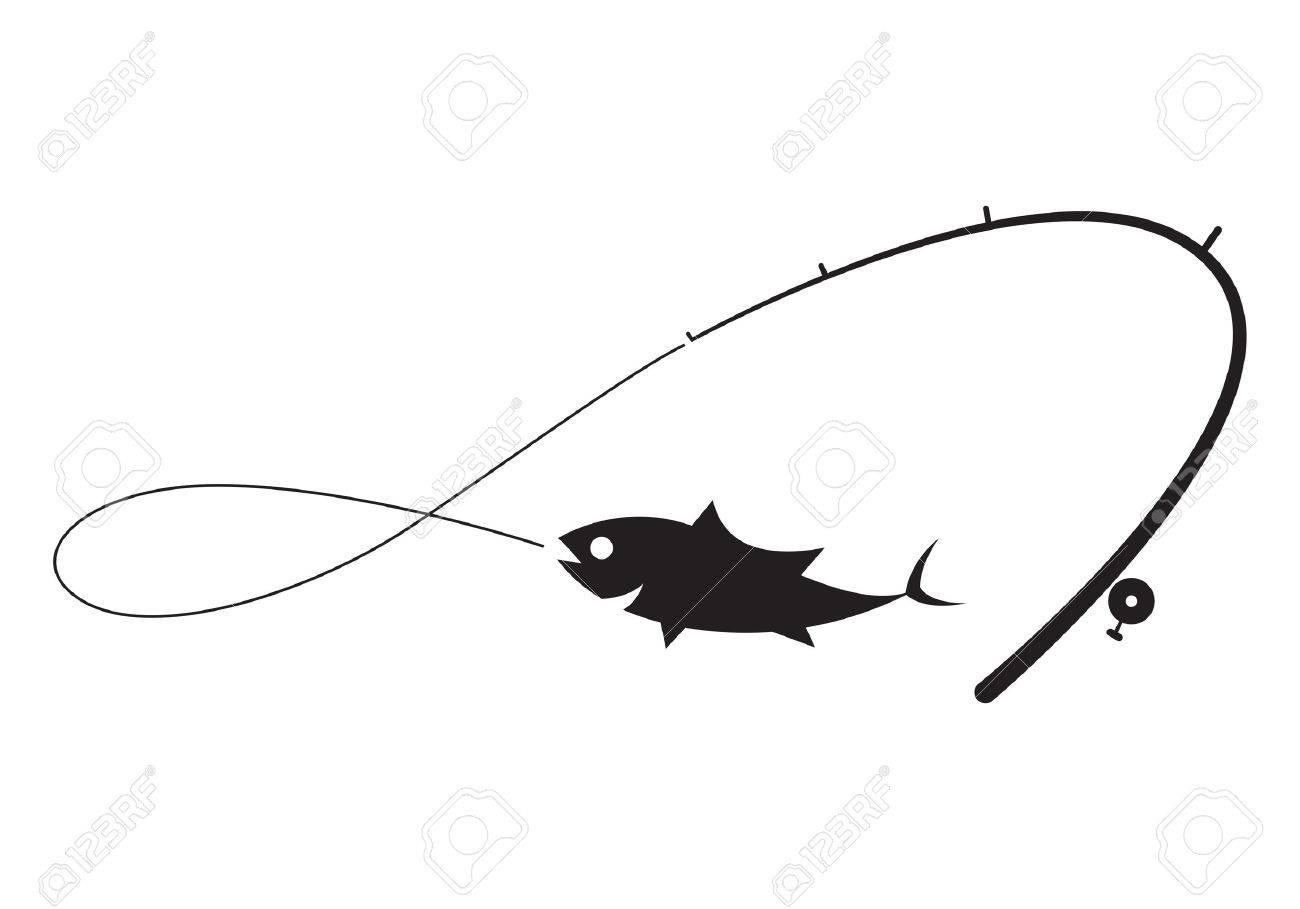 白い背景の上のクリップ アート ブラック釣りのイラスト素材ベクタ