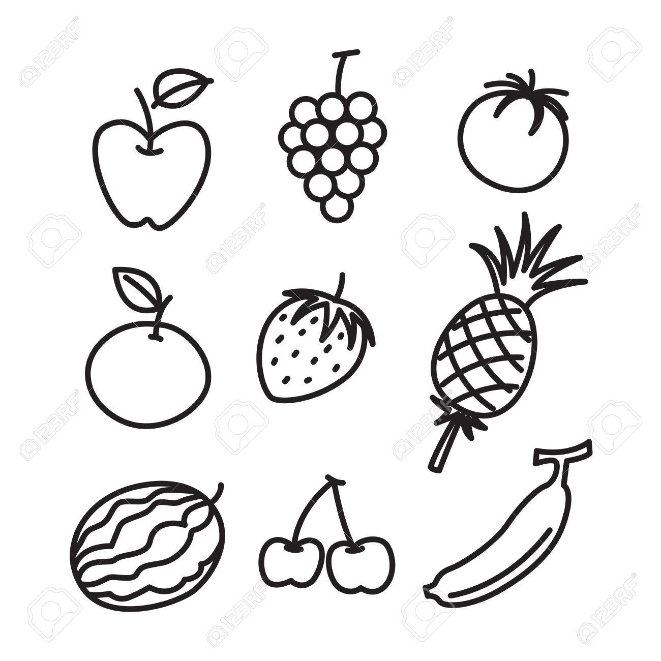 Hand Draw Fruit Set Royalty Free Cliparts Vectors And Stock