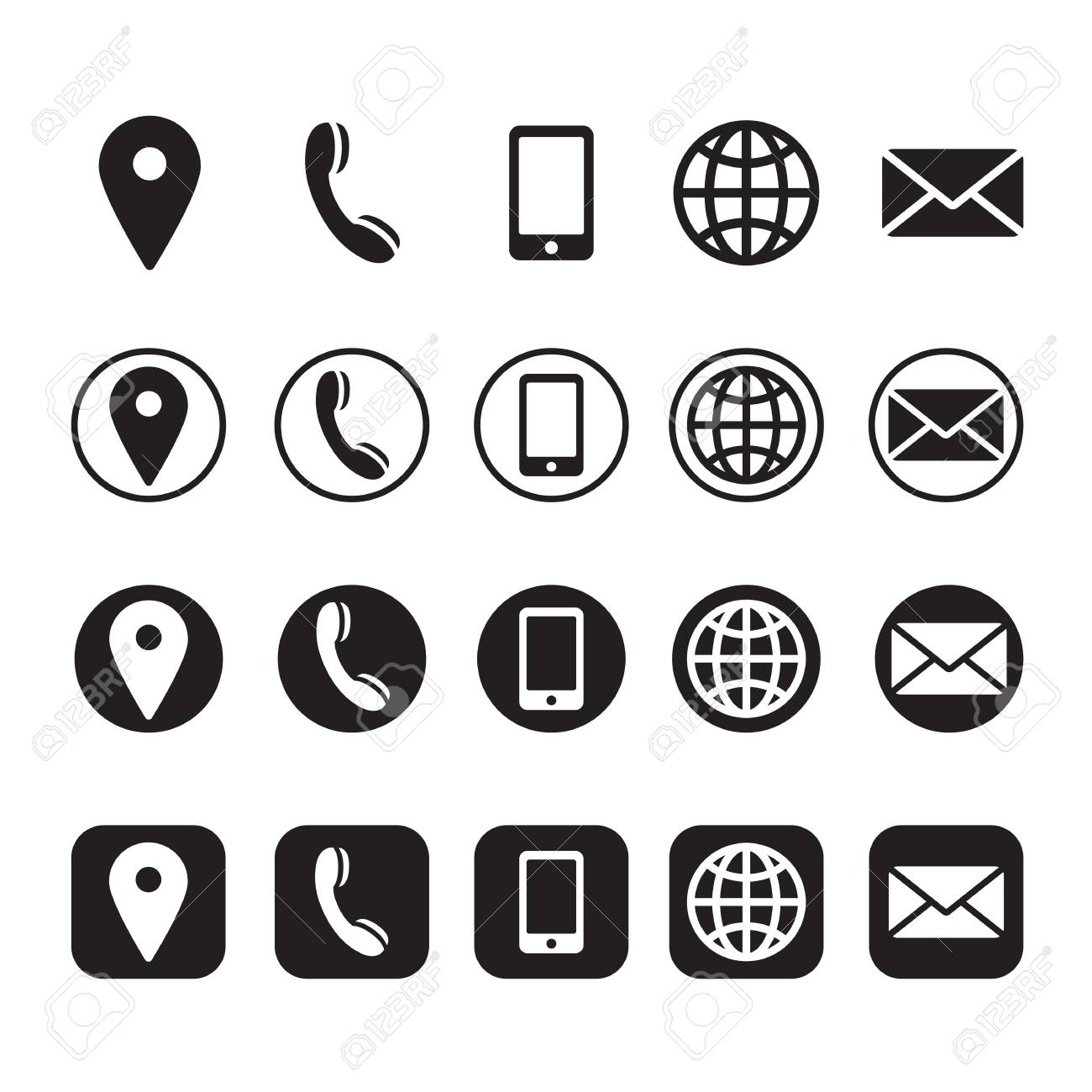 contact information icons, vector - 93607460