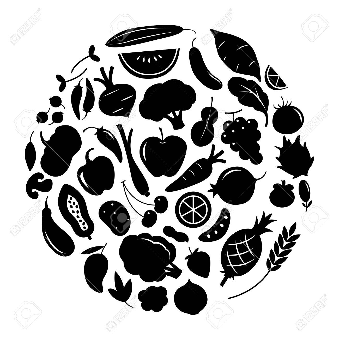 Graphic fruit and vegetable vector illustration black on white background stock vector 98010078