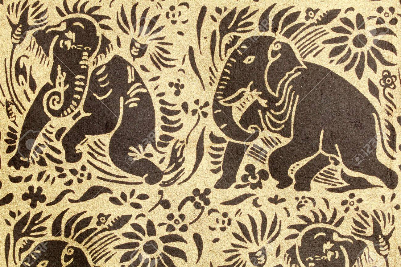 Thai Elephant Pattern Thai Elephant Pattern Art