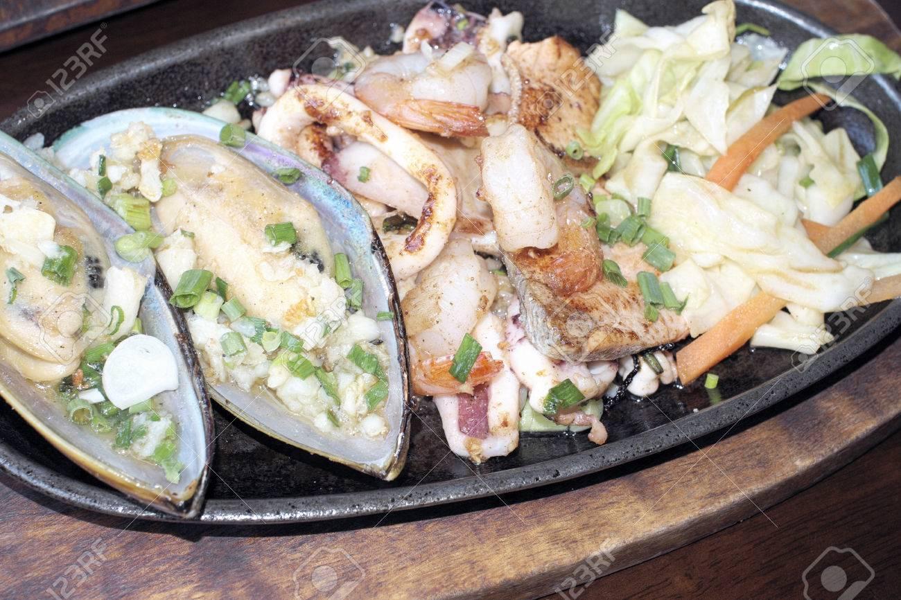 Teppanyaki Giapponese Cucina Di Mare E Verdure Sauté Foto Royalty ...