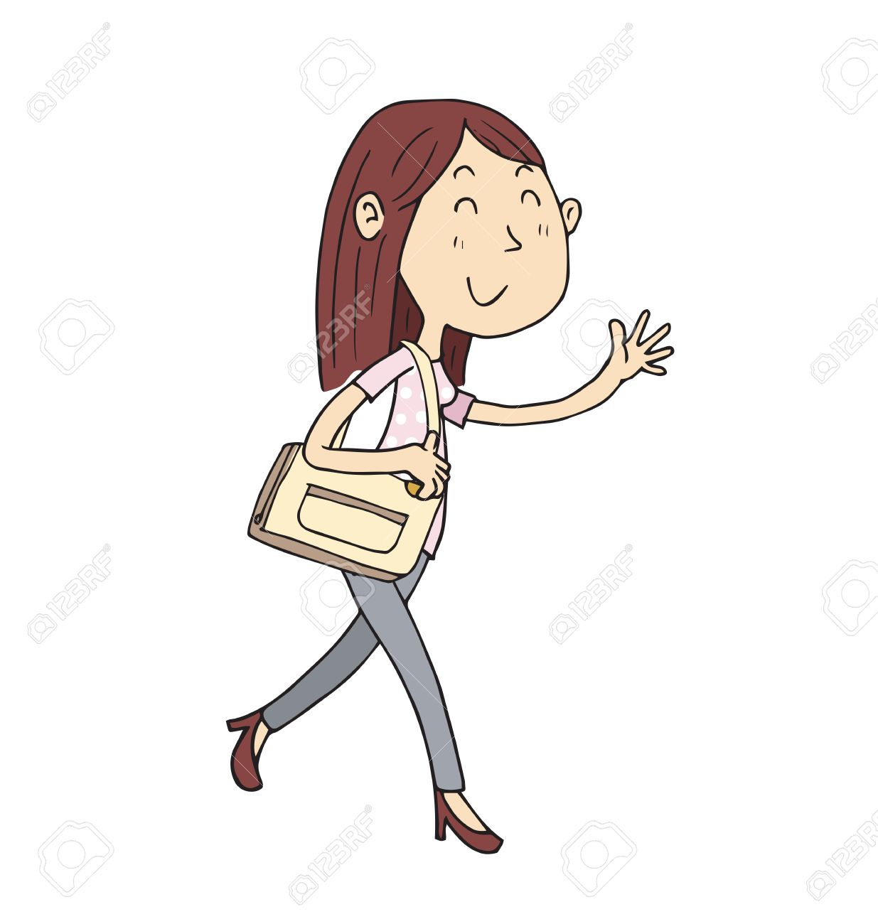 cartoon woman walking with bag in hand drawing style royalty free