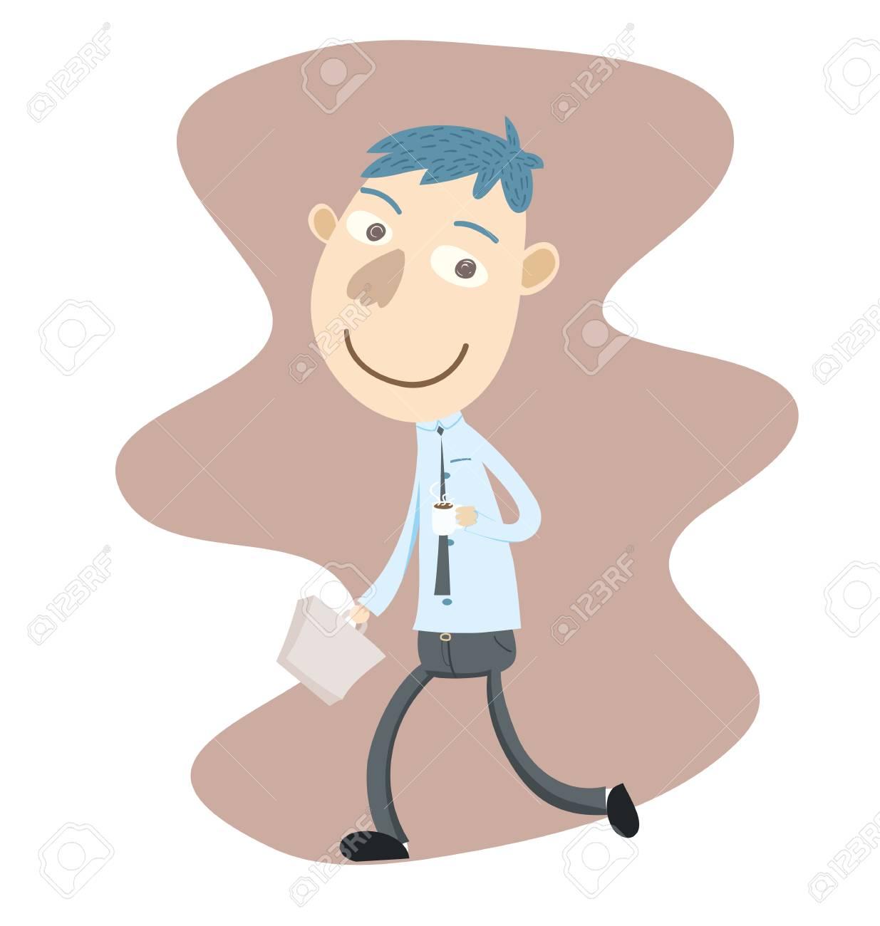 Vettoriale uomo daffari di cartone animato con caffè e valigetta