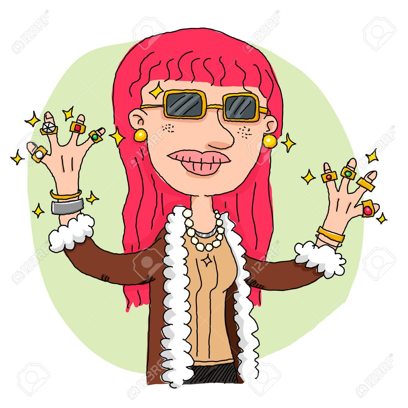 cartoon rich woman showing her jewelry royalty free cliparts