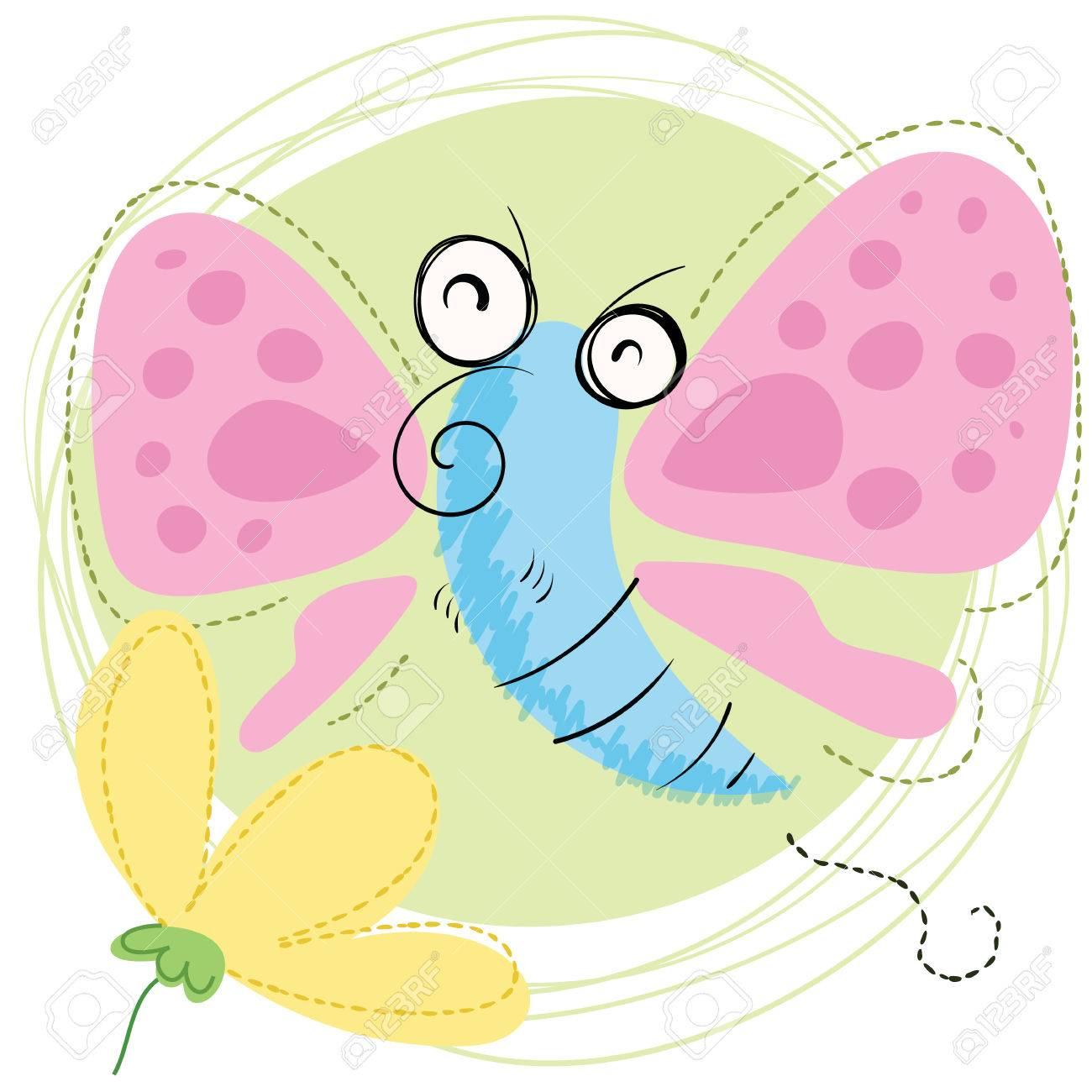 cartoon smiling butterfly with flower royalty free cliparts