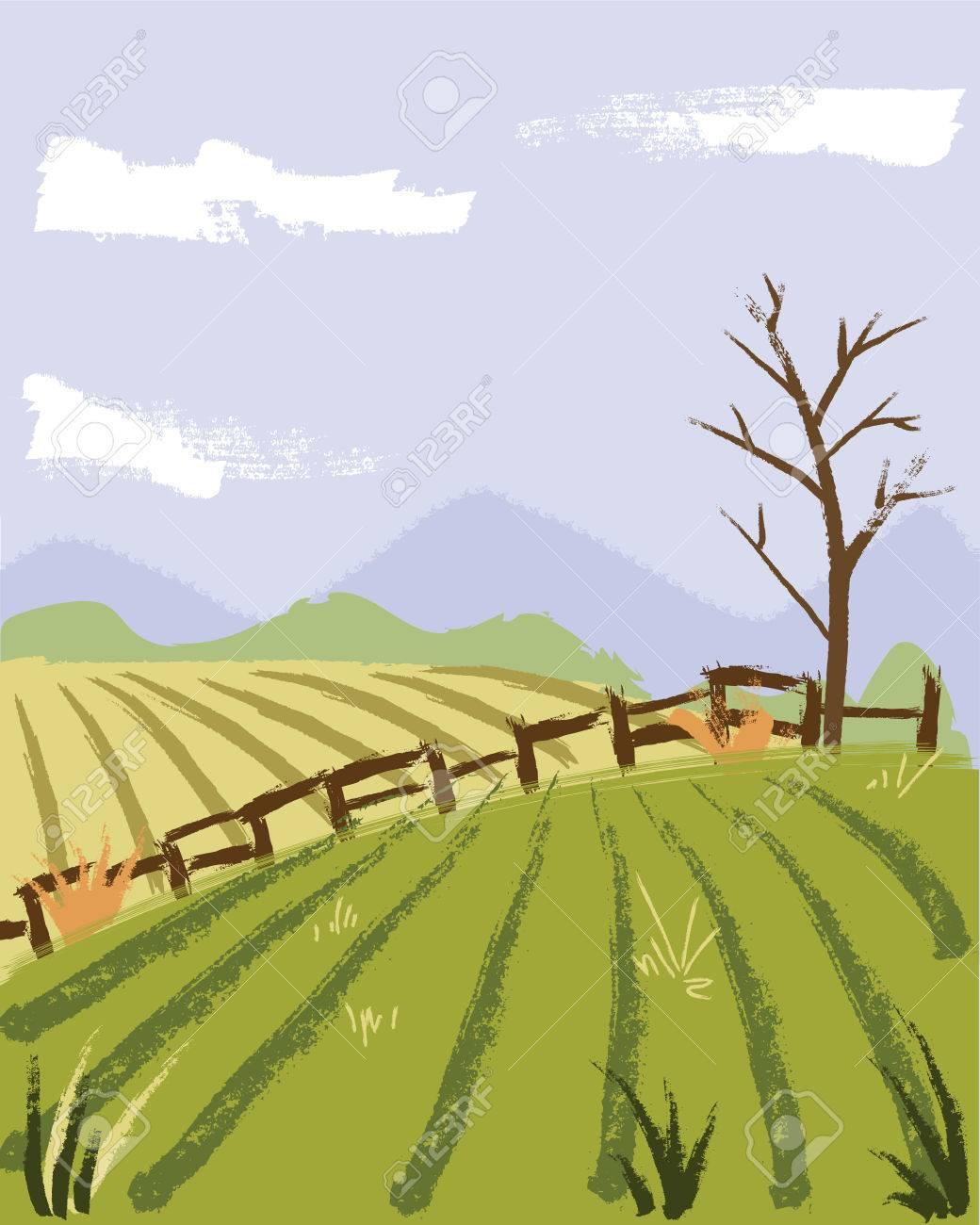 Boyama Tarzı çiftçi Alan Illüstrasyonu Royalty Free Klipartlar