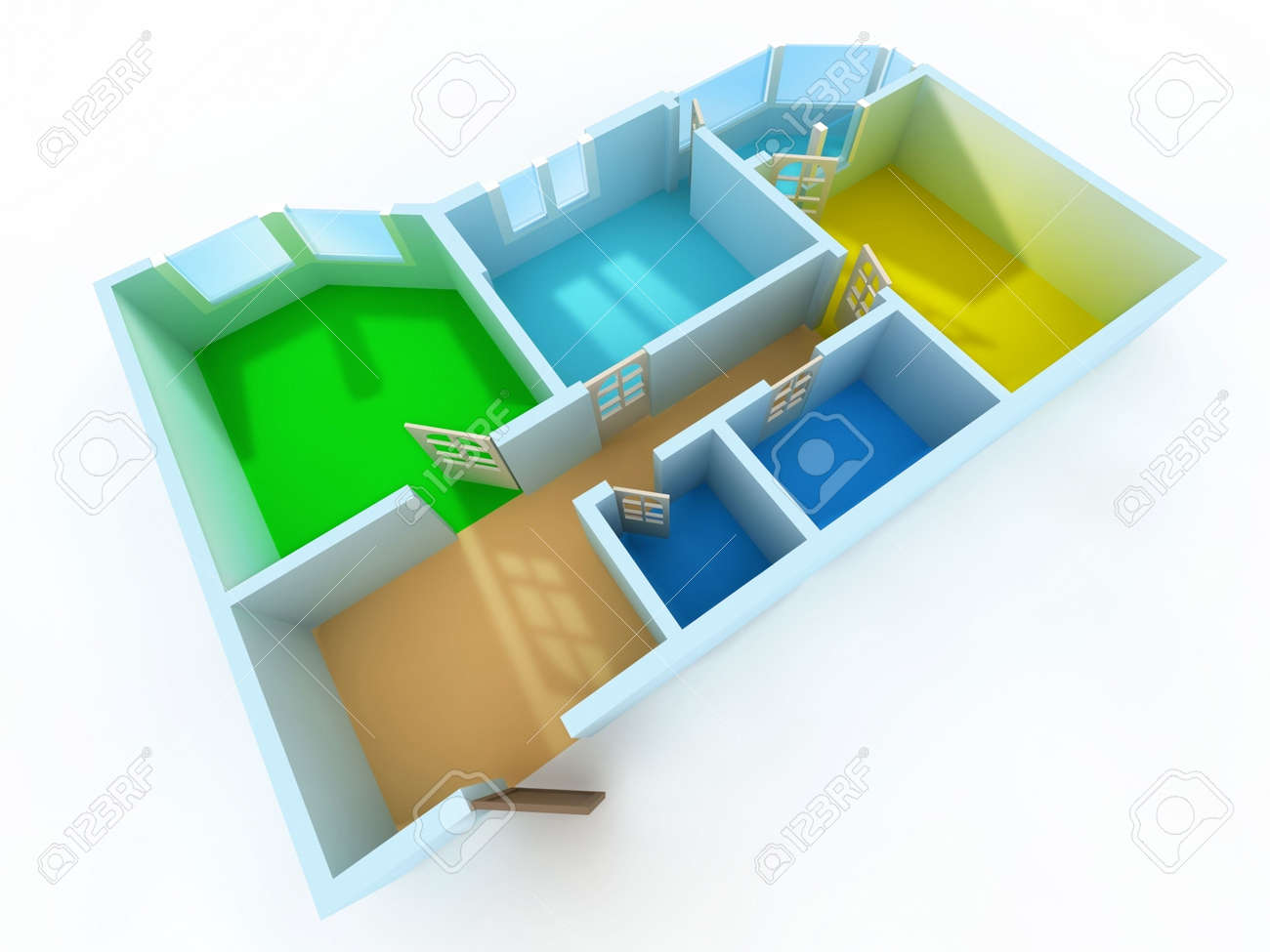 Schematic three-dimensional model of an apartment Stock Photo - 2412844