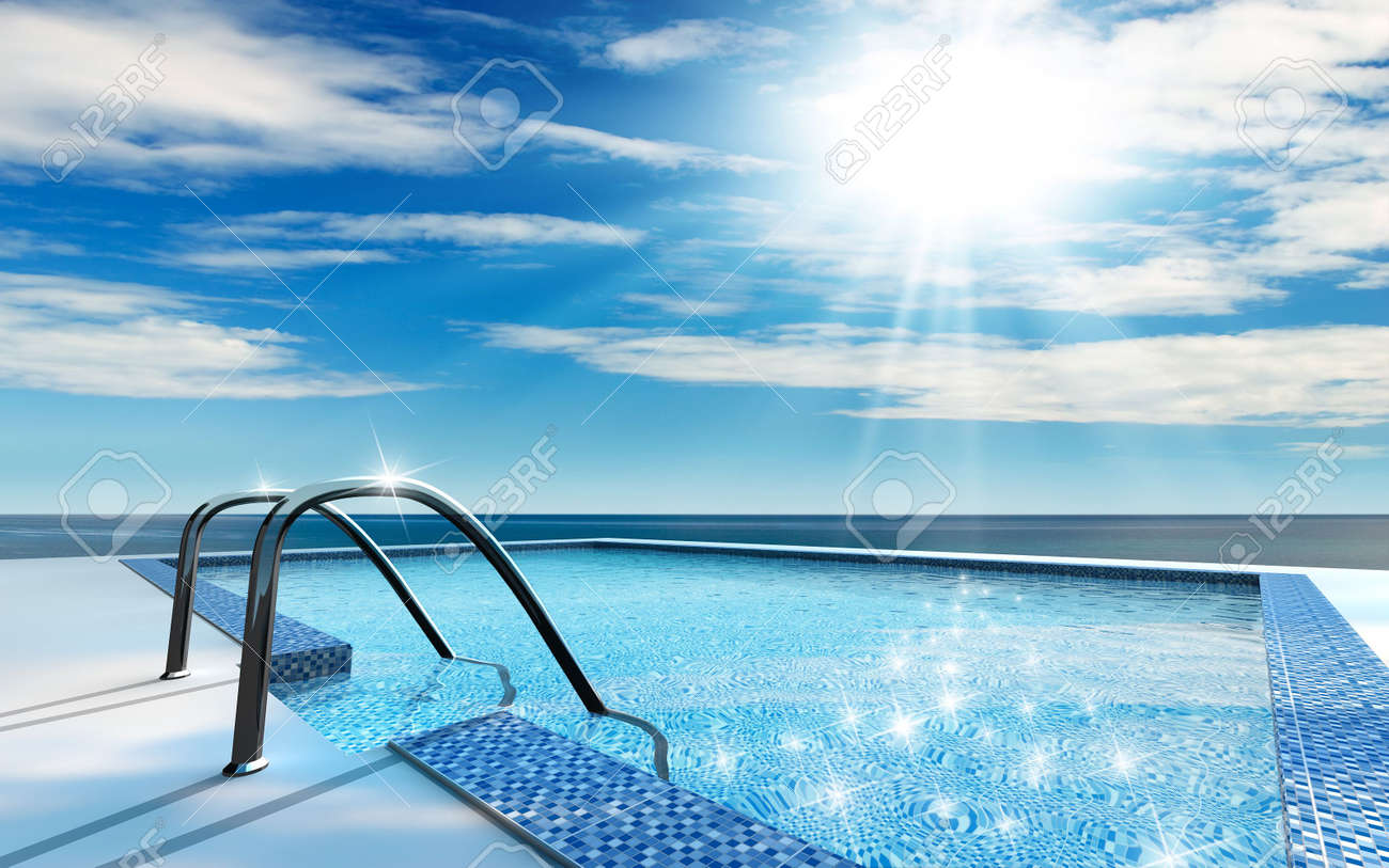 Luxury Home Swimming Pools luxury home swimming pool near the sea stock photo, picture and