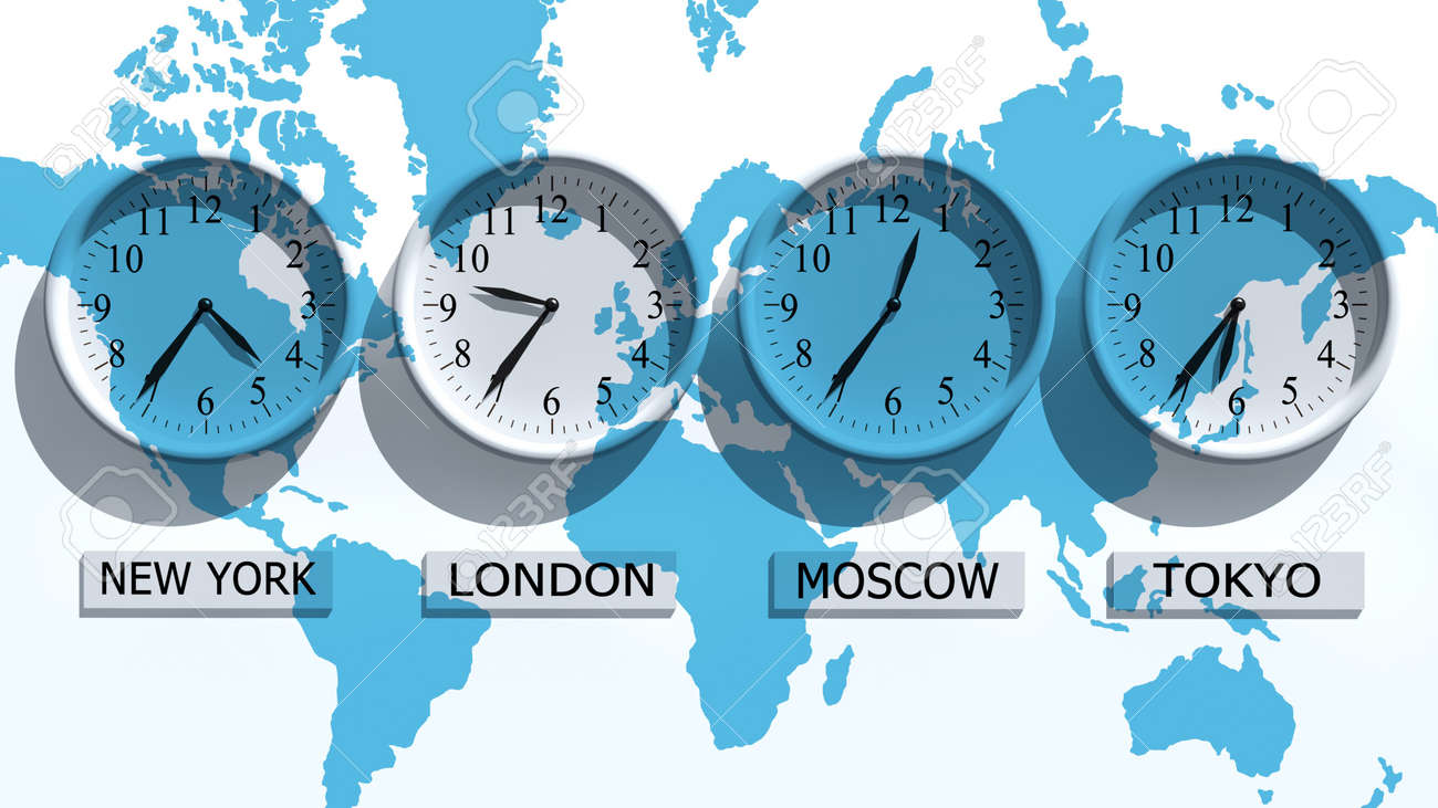 Timezone Clocks Showing Different Time Stock Photo, Picture And ...