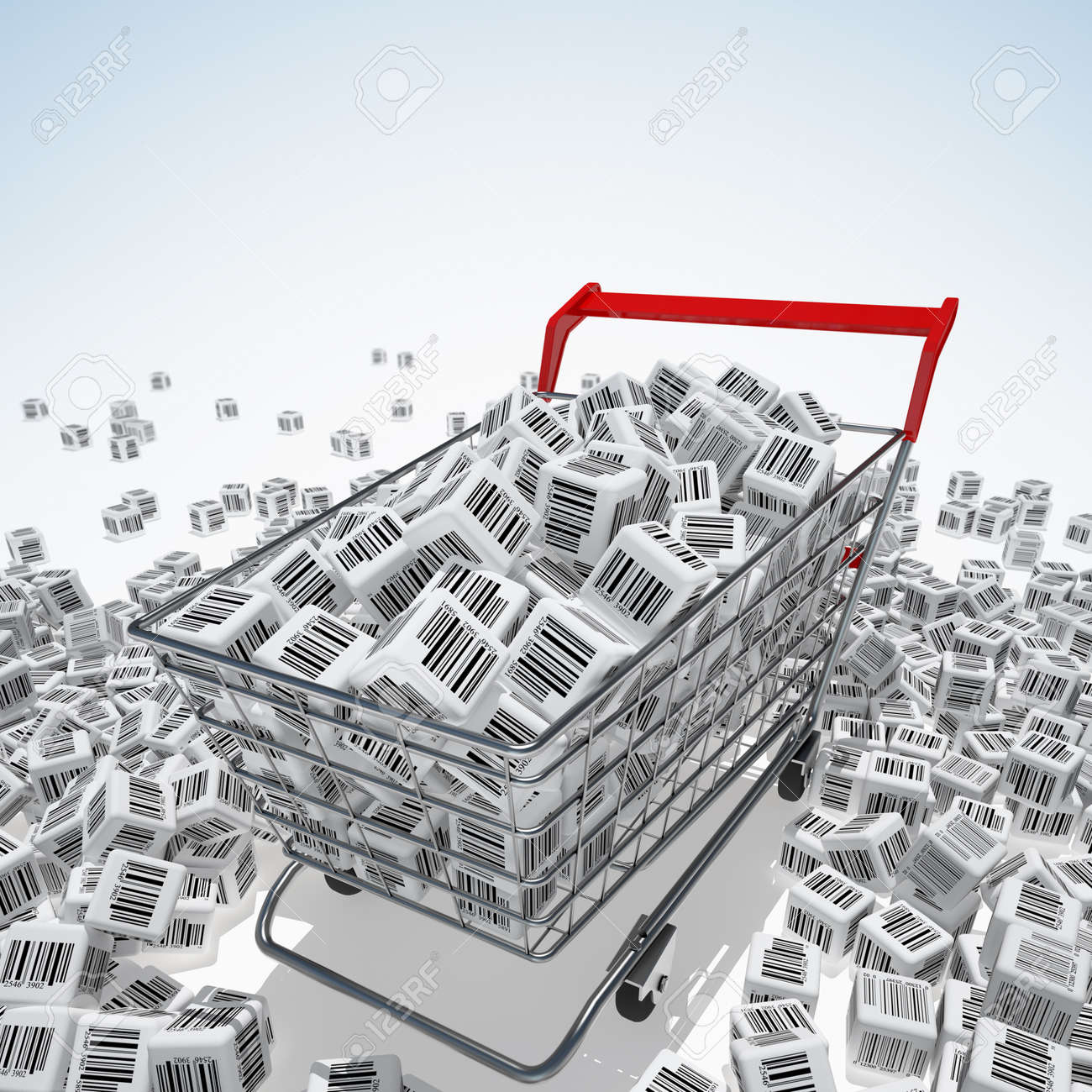 Shopping cart with bar codes Stock Photo - 12420894
