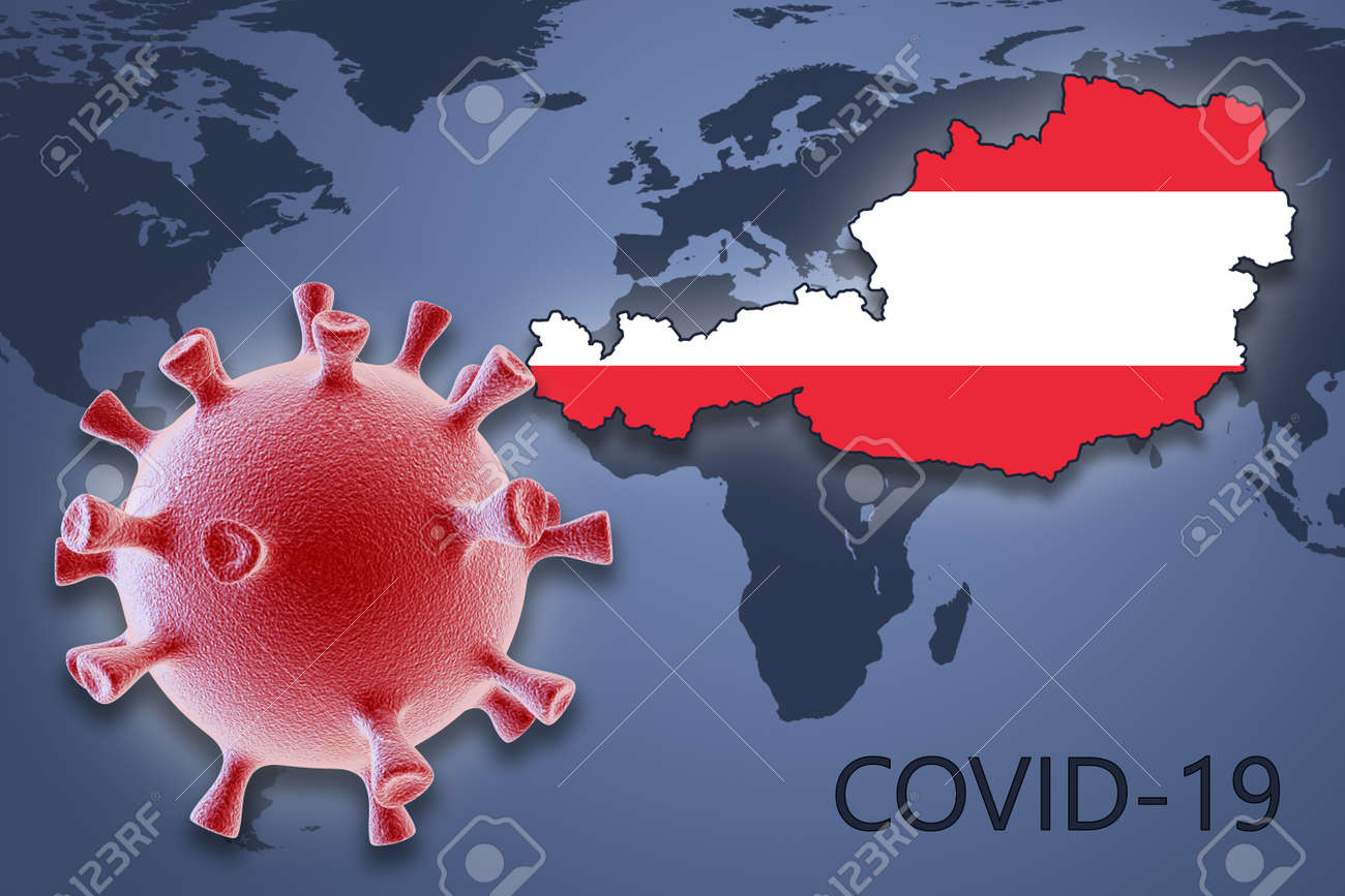Image of: Coronavirus Cell And Map Of Austria On Background Of The World Stock Photo Picture And Royalty Free Image Image 144020375