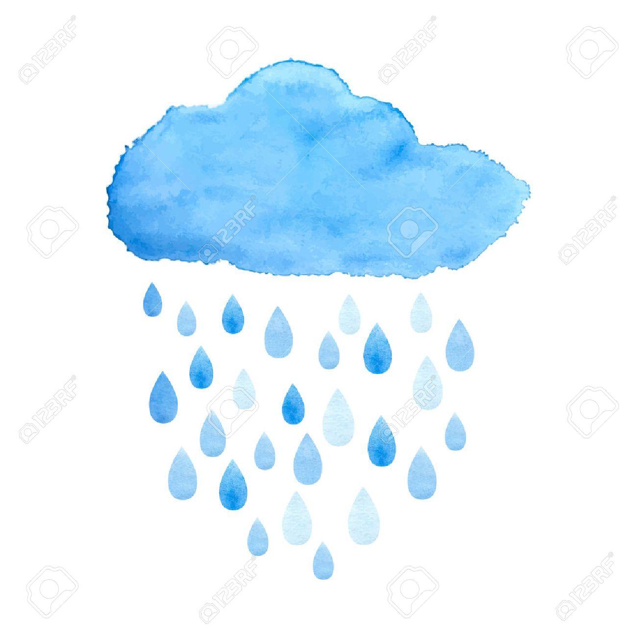 rain nimbus cloud precipitation with rain drops watercolor