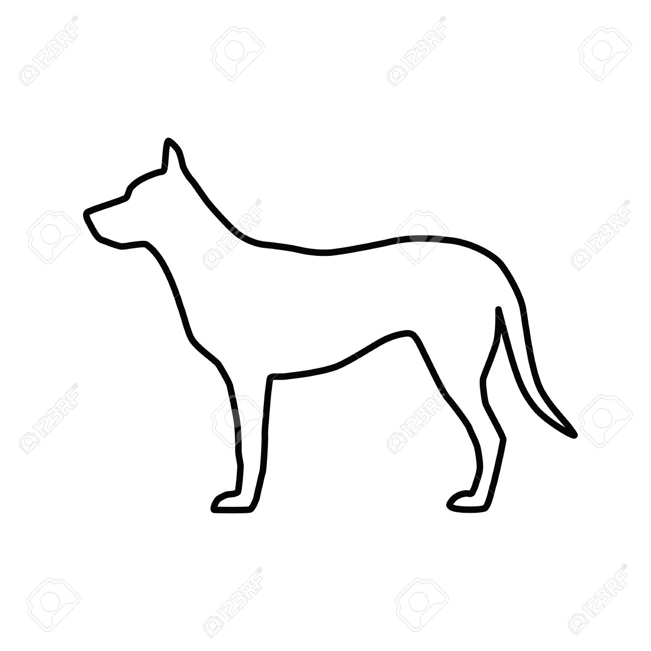 Vector Image Of An Outline Dog Silhouette On White Background