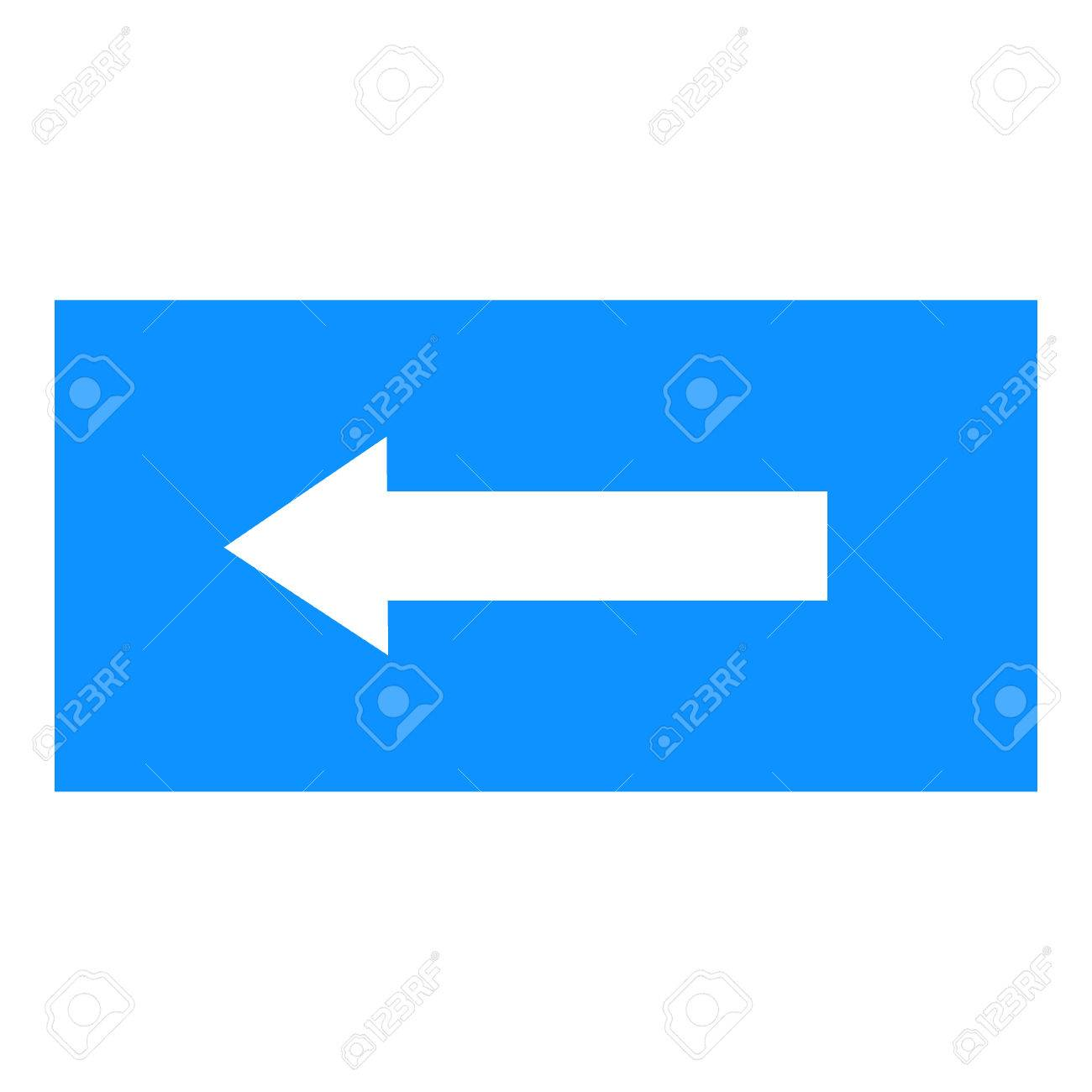 Arrow Sign White Icon In Blue Rectangle Isolated On White