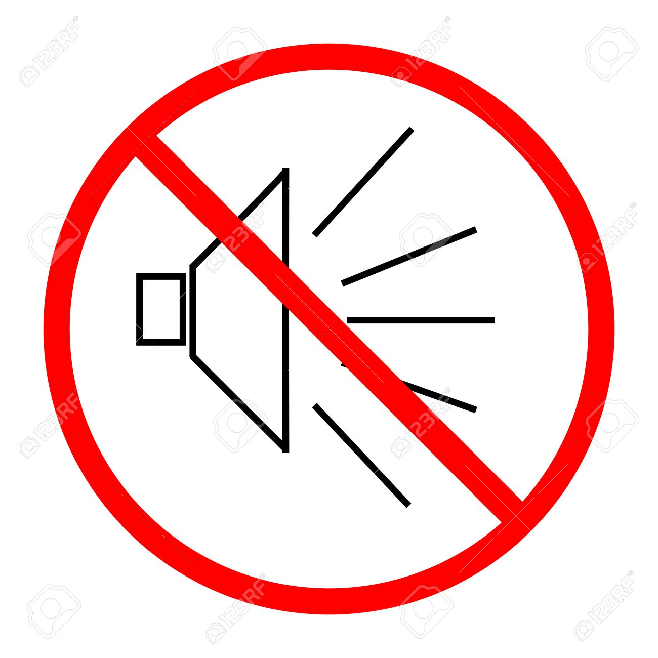 No noise sign in red circle on white background symbol silence no noise sign in red circle on white background symbol silence forbidden volume mark buycottarizona Choice Image