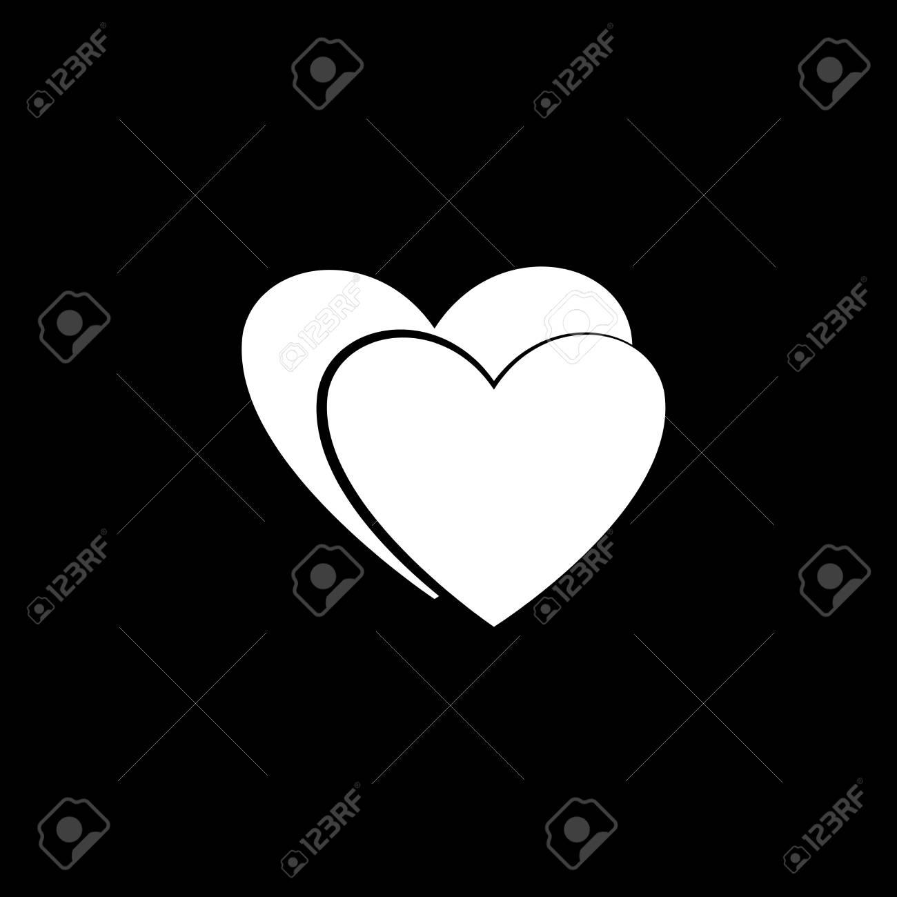 Icône De Couple Coeur Blanc Icône Isolé Amour Romantique Symbole Monochrome Du Jour De La Saint Valentin élément De Conception Illustration