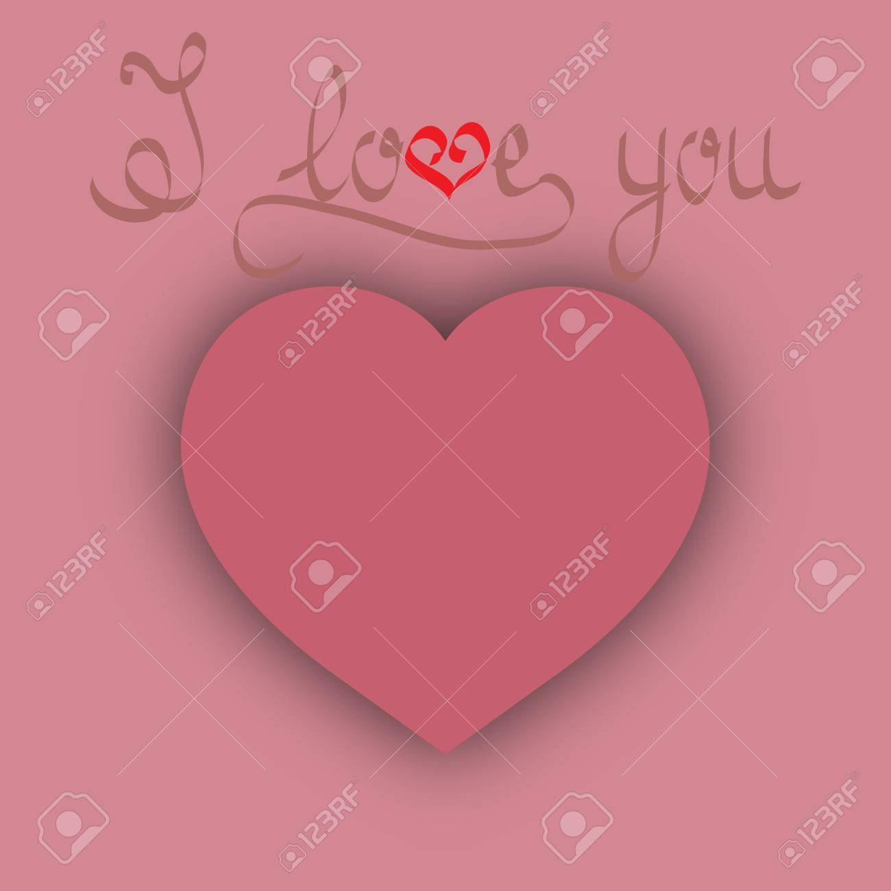 Heart With Quote I Love You. Pink Sign On Pink Background. Romantic Symbol  Linked