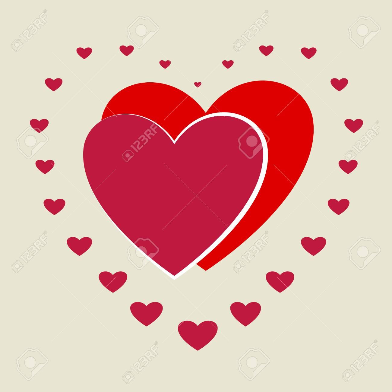 Corazón Pequeño Alrededor De Dos Corazones Grandes Romántico