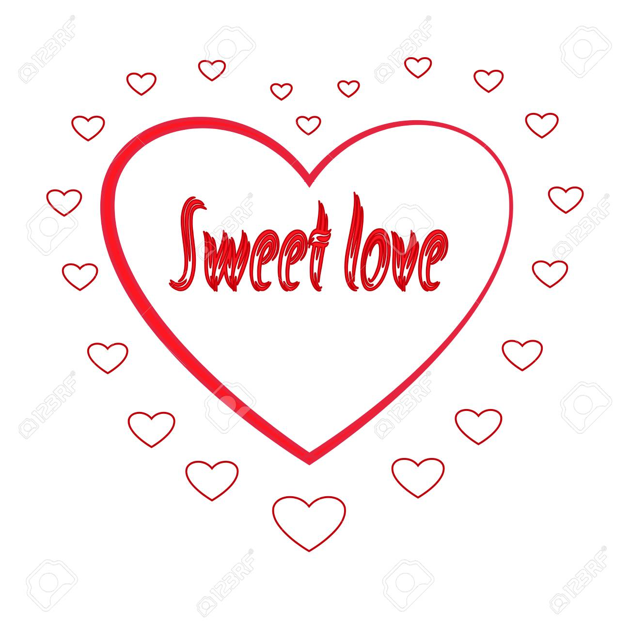 Great Heart In Silhouette Heart. Red Sign With Quote Sweet Love On White  Background. Romantic
