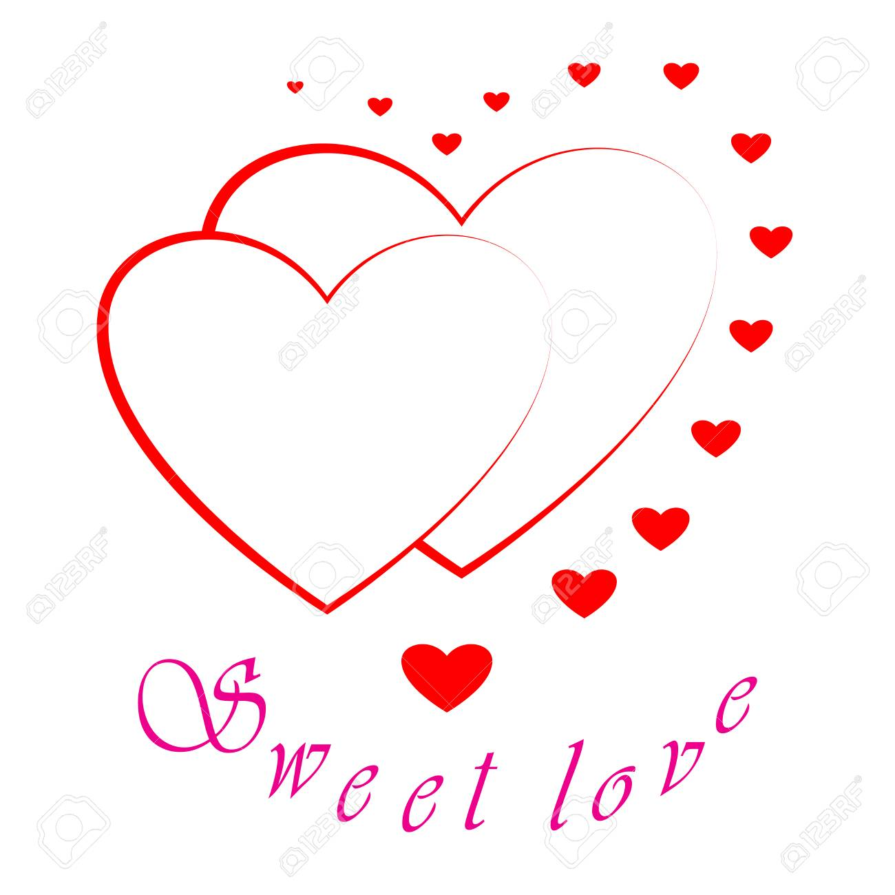 Superior Heart Two Card. Red Sign With Quote Sweet Love On White Background. Romantic  Symbol