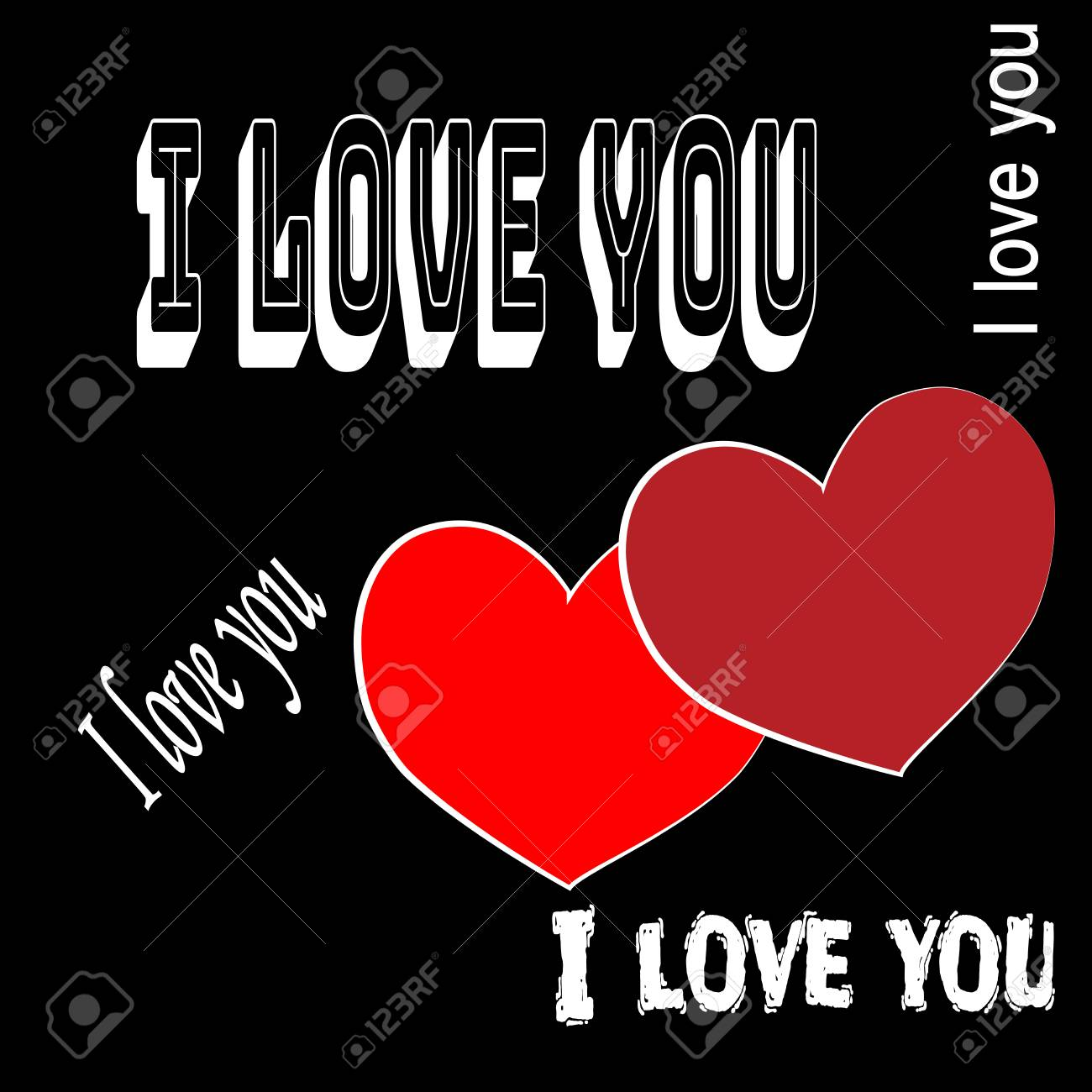 Wonderful Heart Two With Quote I Love You Card. Red Sign On Gray Background. Romantic