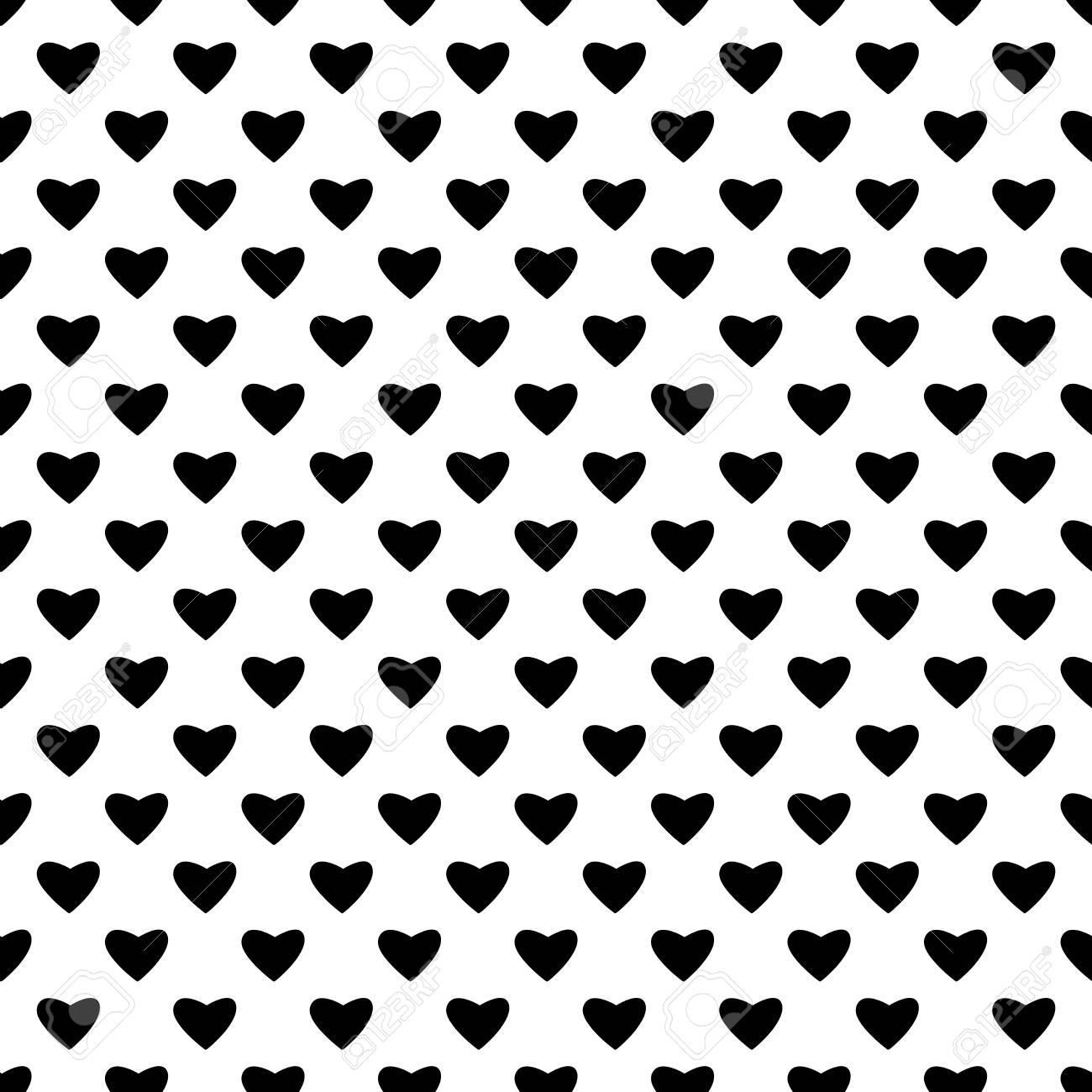 Papier Peint Noir Et Blanc Graphique coeur noir seamless pattern. mode de conception graphique d'arrière-plan.  abstract texture. modèle monochrome pour les impressions, les textiles,
