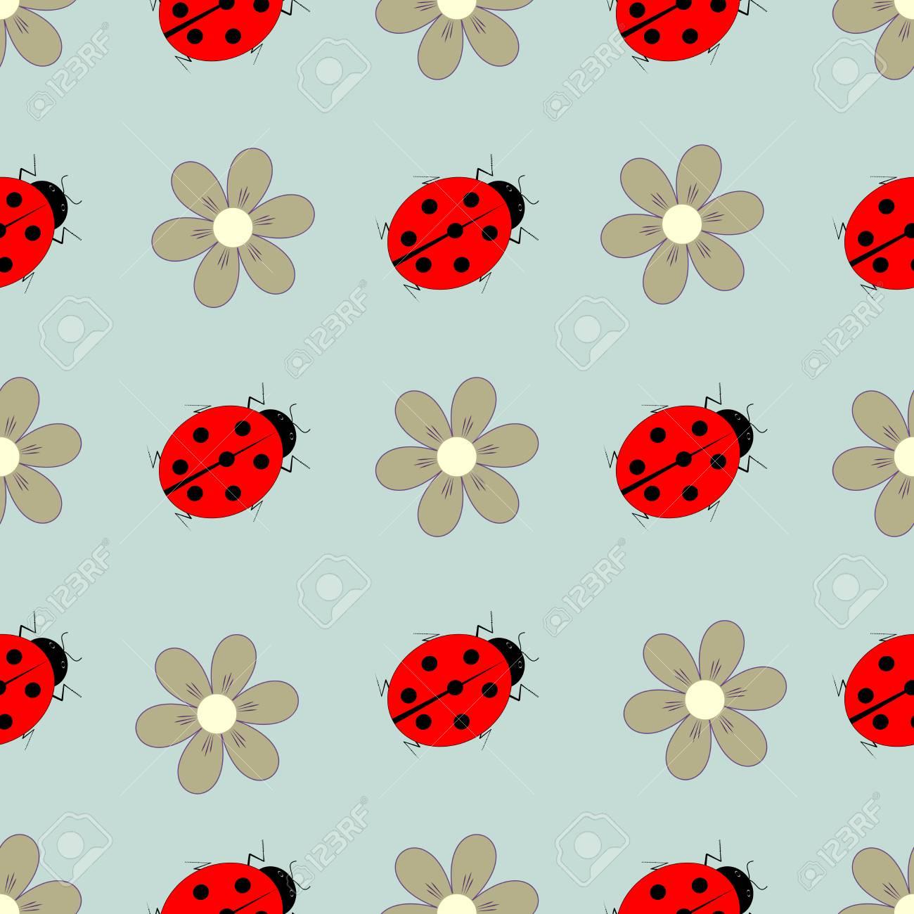 ladybug and flower seamless pattern fashion graphic background