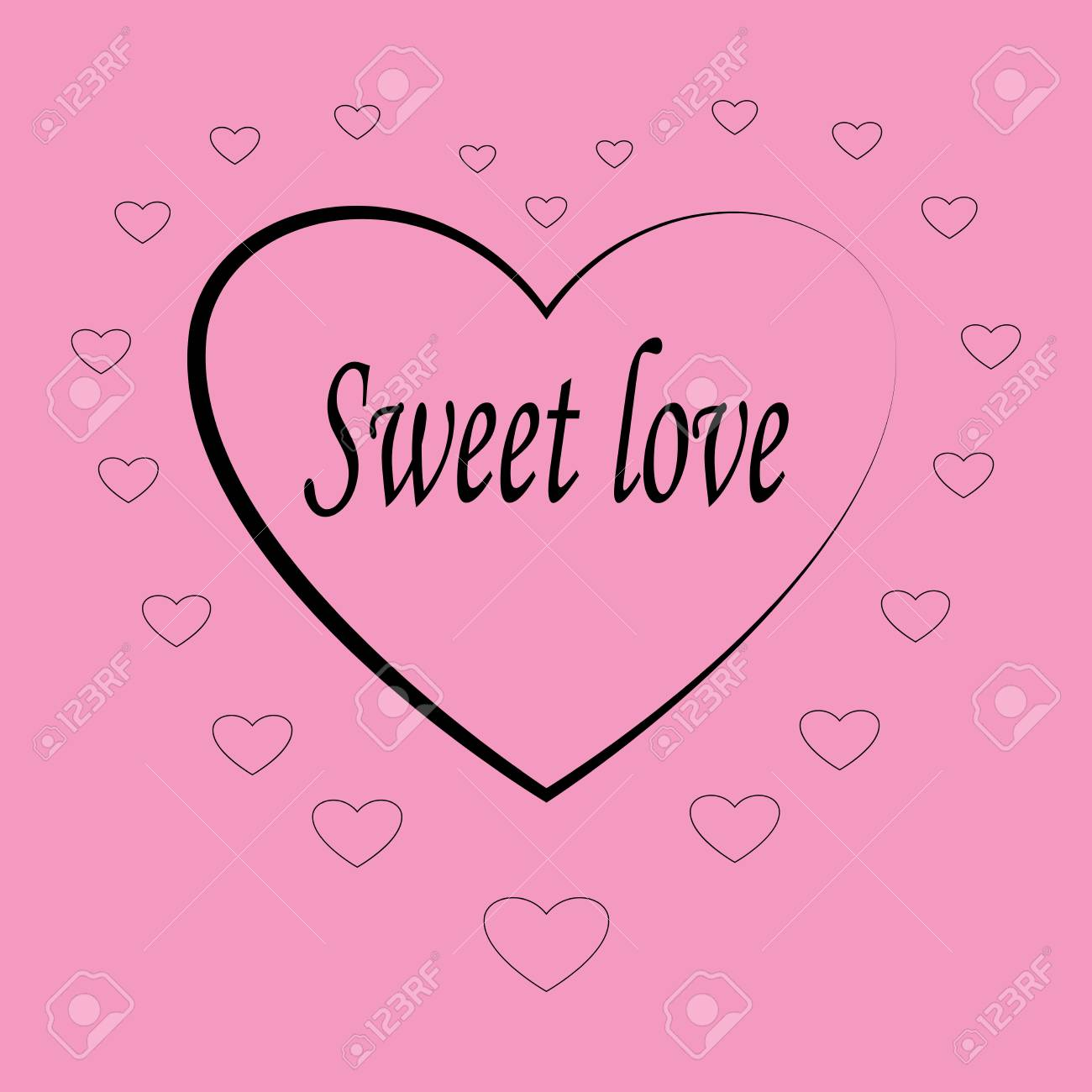 Heart Card. Red Sign With Quote Sweet Love On Pink Background. Romantic  Symbol Linked