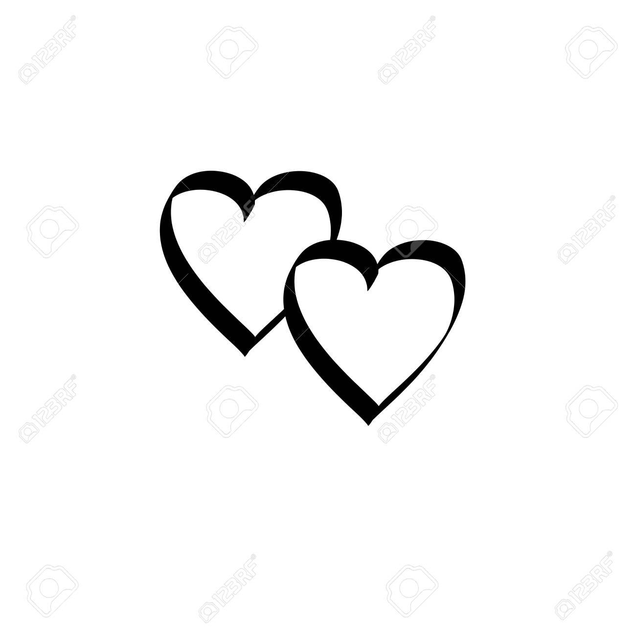 Coeur Deux Rubans Isolés Signe Noir Sur Fond Blanc Symbole De Silhouette Romantique Lié Rejoindre Amour Passion Et Mariage Marque Monochrome Du
