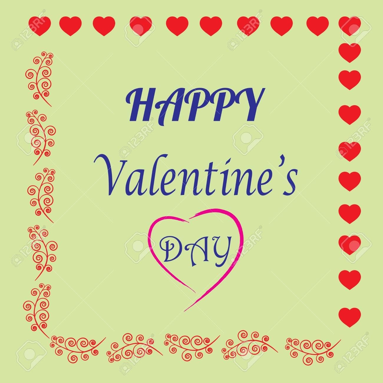 Valentines Day Card Romantic Mark In Frame And Greeting Heart