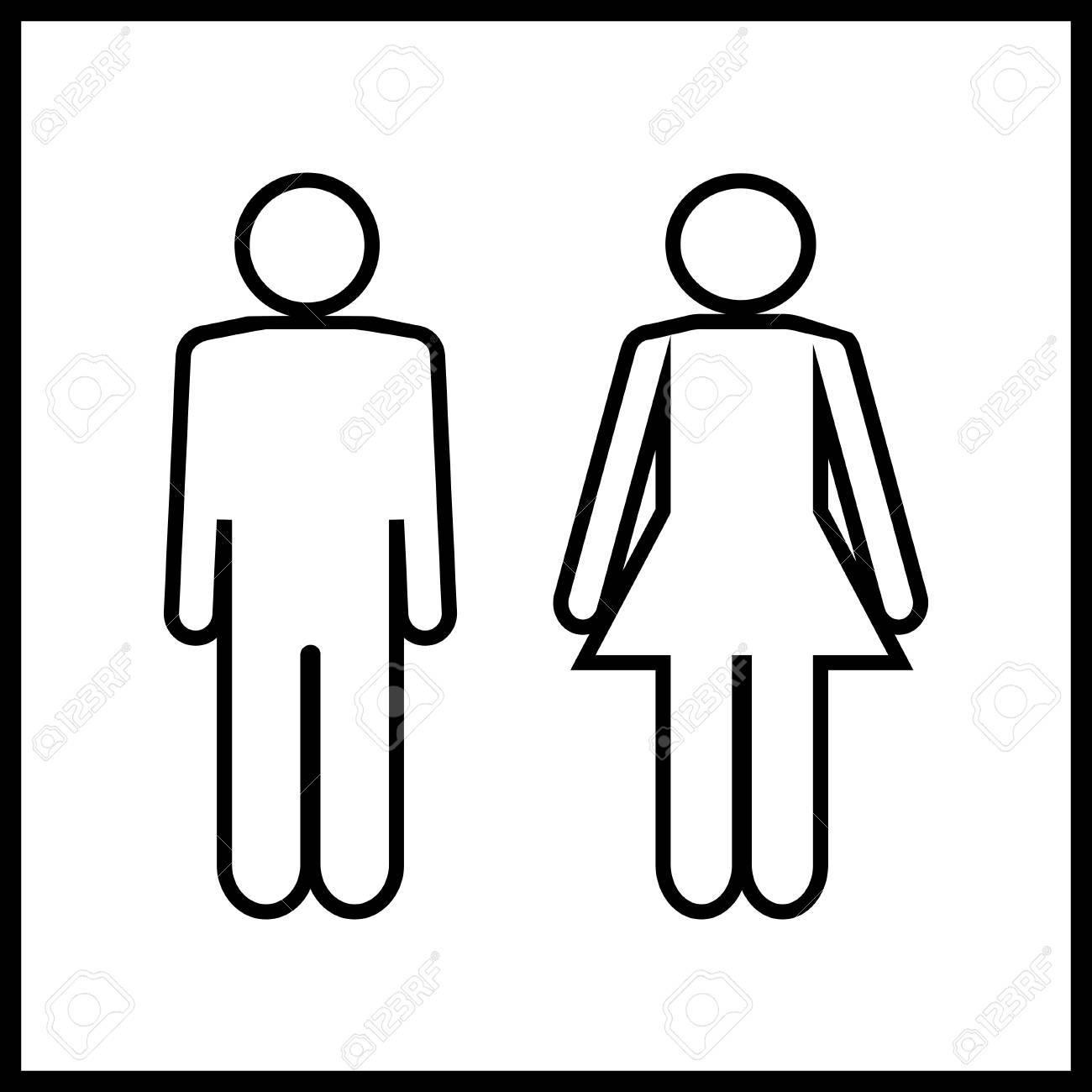 Probleme Humidite Salle De Bain ~ Les Hommes Et Les Femmes Silhouette Sur Fond Blanc Wc Ic Ne Ic Ne