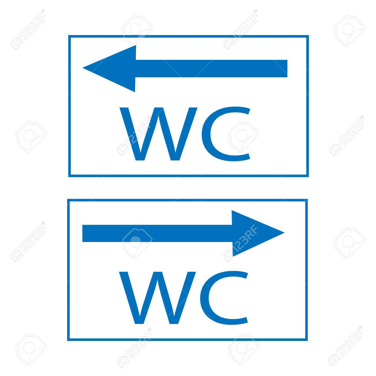 WC Icon And Arrow Right Left In Blue Square On White Background