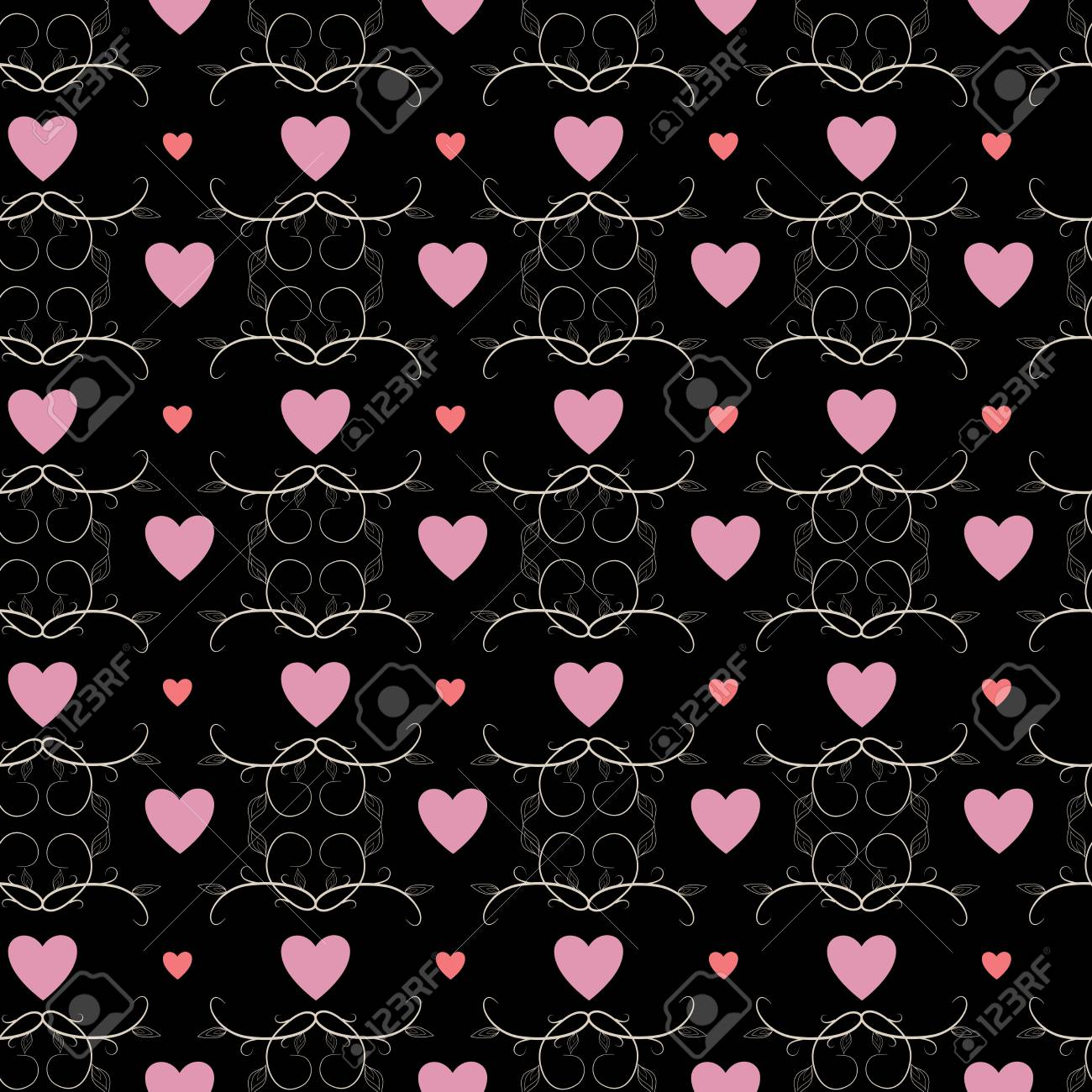 Pink Heart And Twig On Black Background Fashion Graphic