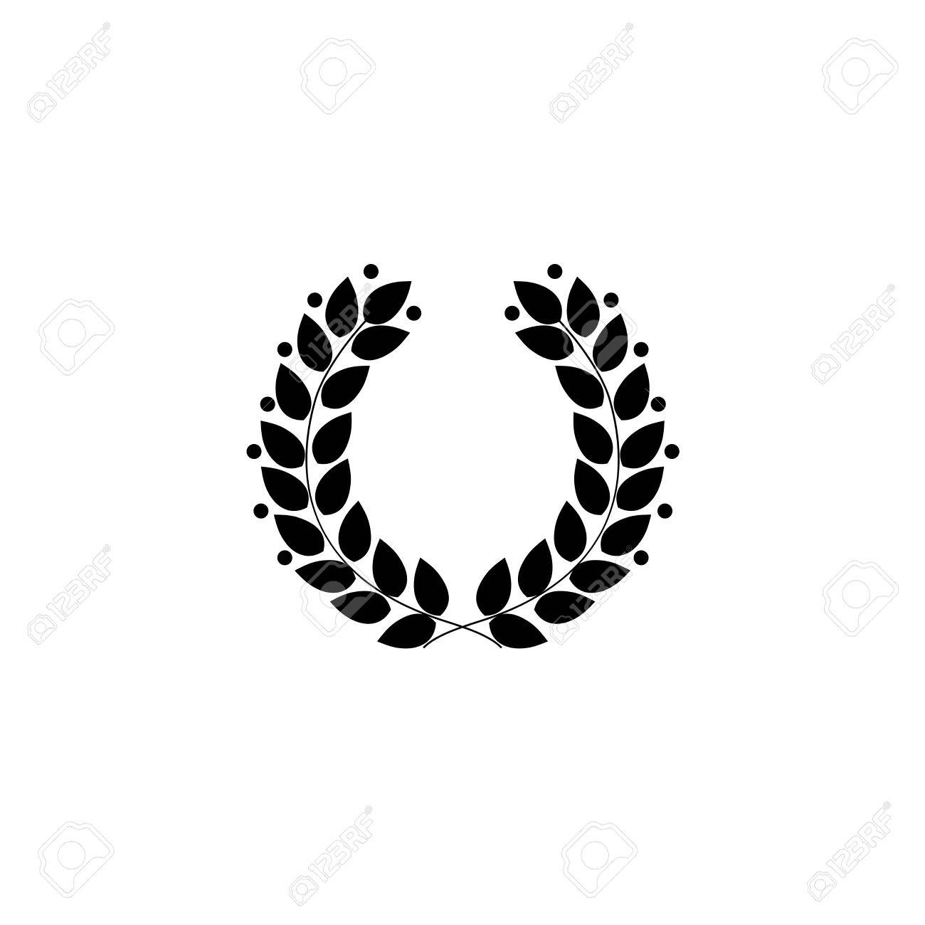 Corona De Laurel Negra. Símbolo Moderno De La Victoria Y El Campeón ...