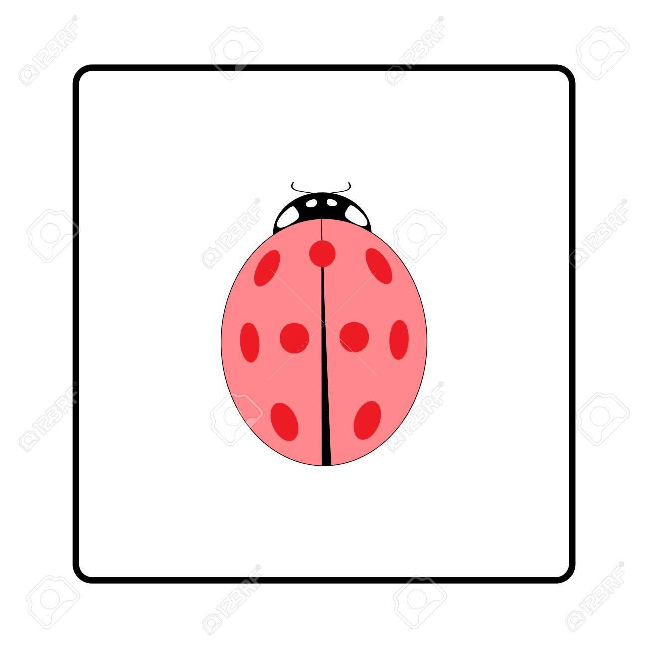 Ladybird Signo Rosa. Mariquita De La Ilustración En El Marco Blanco ...